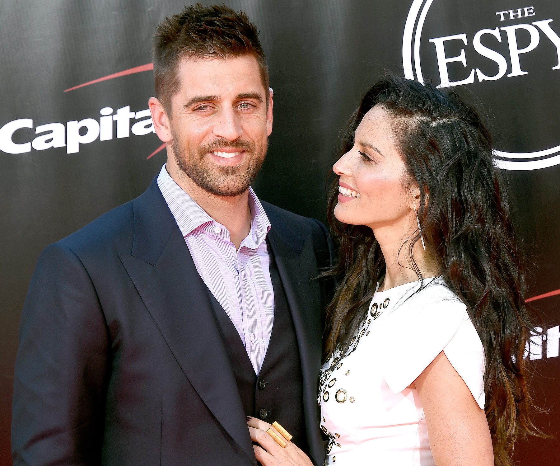 Olivia Munn and Aaron Rodgers arrive at The 2016 ESPYS at Microsoft Theater on July 13, 2016 in Los Angeles, California.