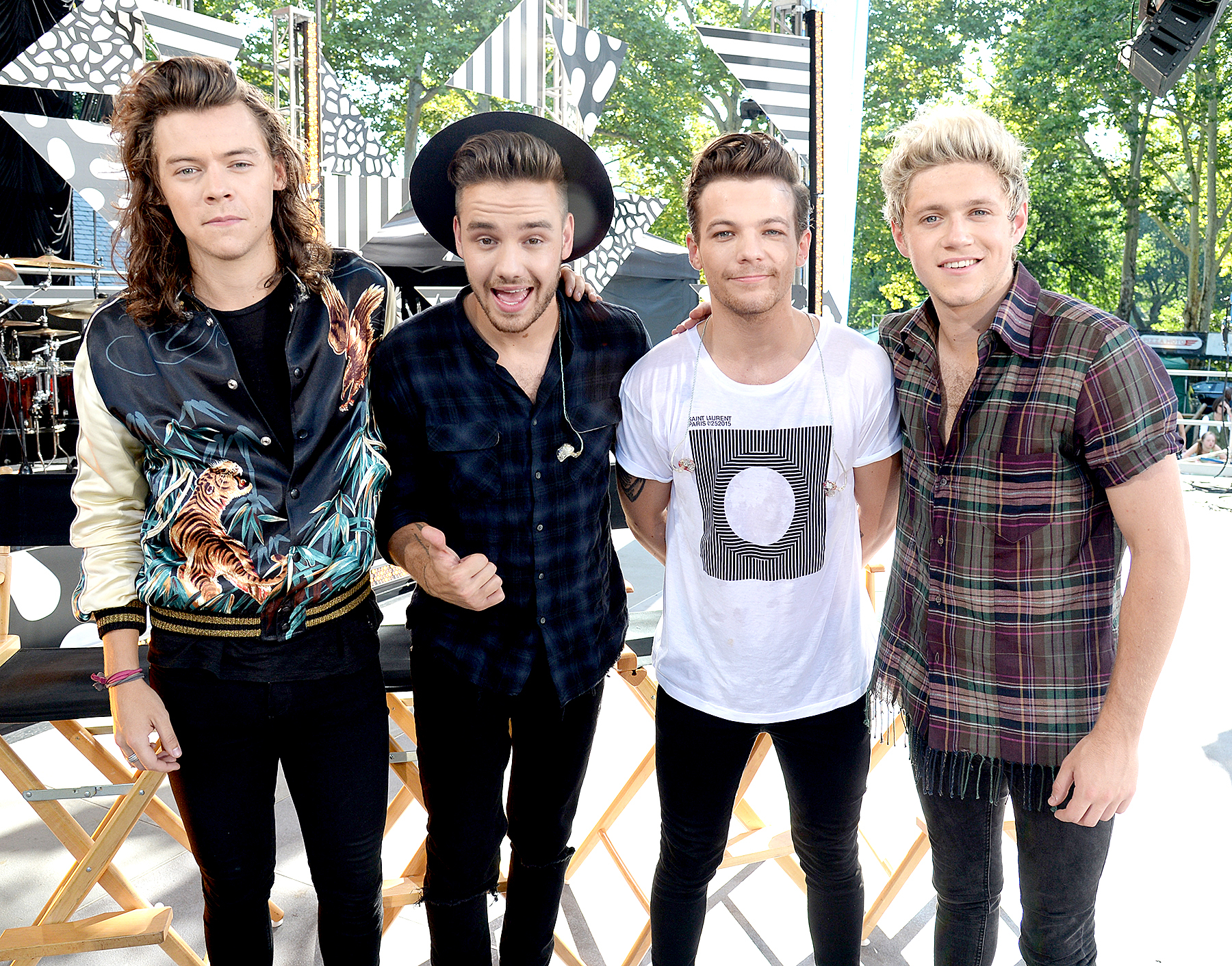 Harry Styles, Liam Payne, Louis Tomlinson and Niall Horan of One Direction pose onstage during ABC's