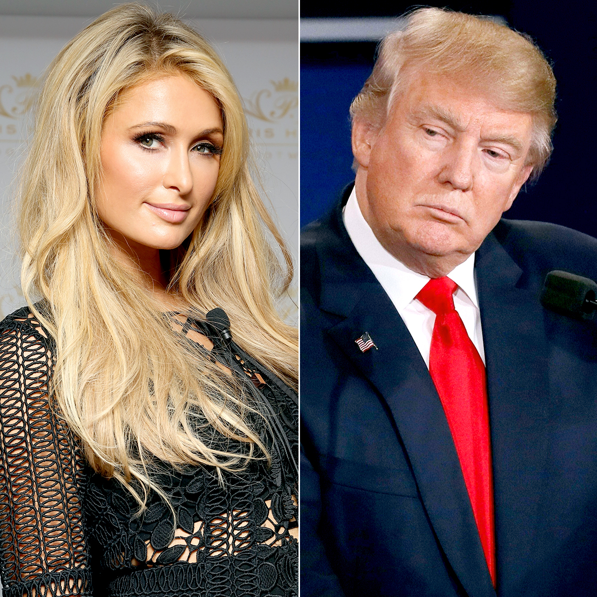 Victor Chavez/WireImage; MARK RALSTON/AFP/Getty Images Paris Hilton and Donald Trump