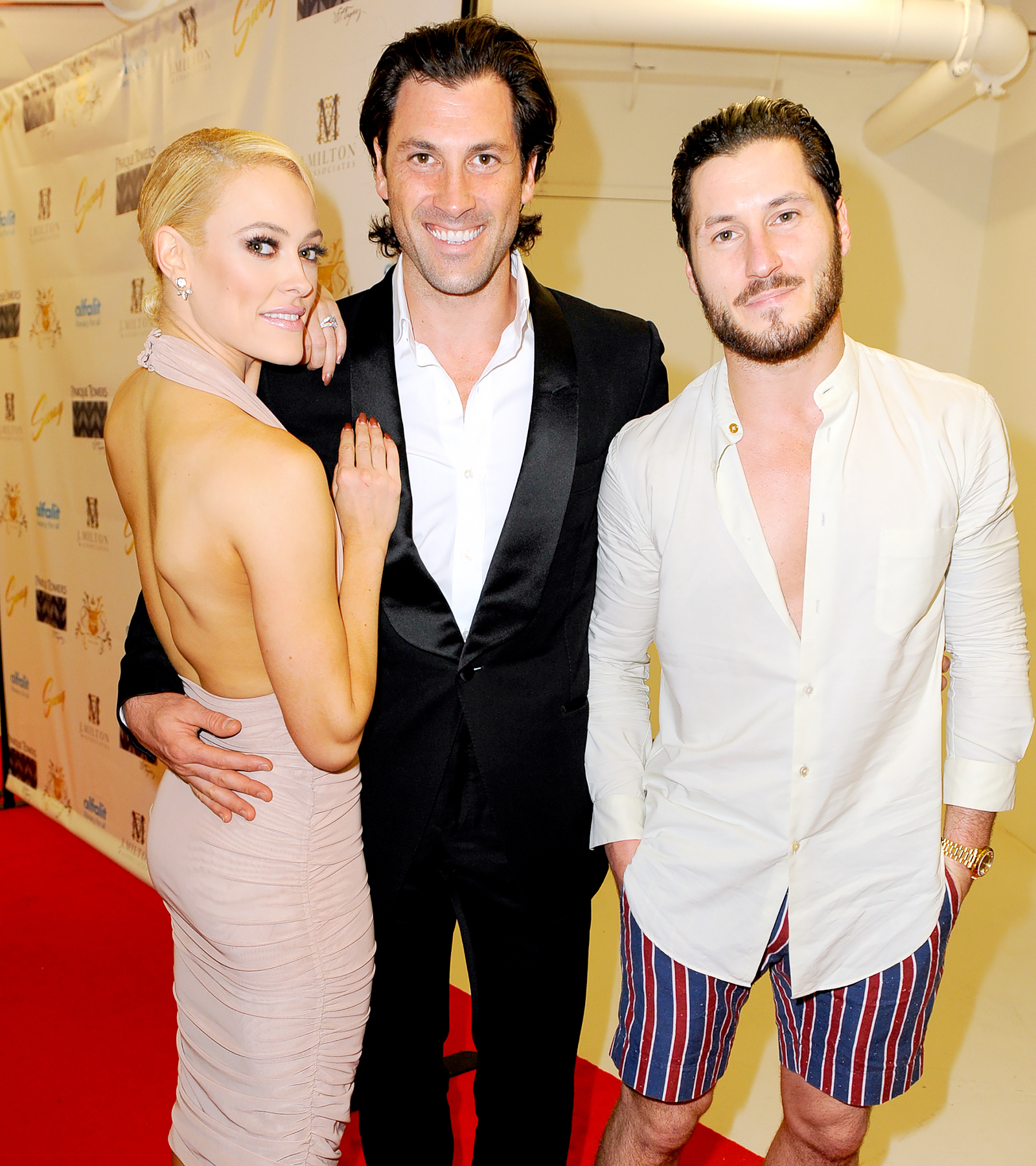 Peta Murgatroyd, Maks Chmerkovskiy and Valentin Chmerkovskiy attend SWAY Alfalit Gala at Gary Nader Art centre on December 5, 2015 in Miami, Florida.
