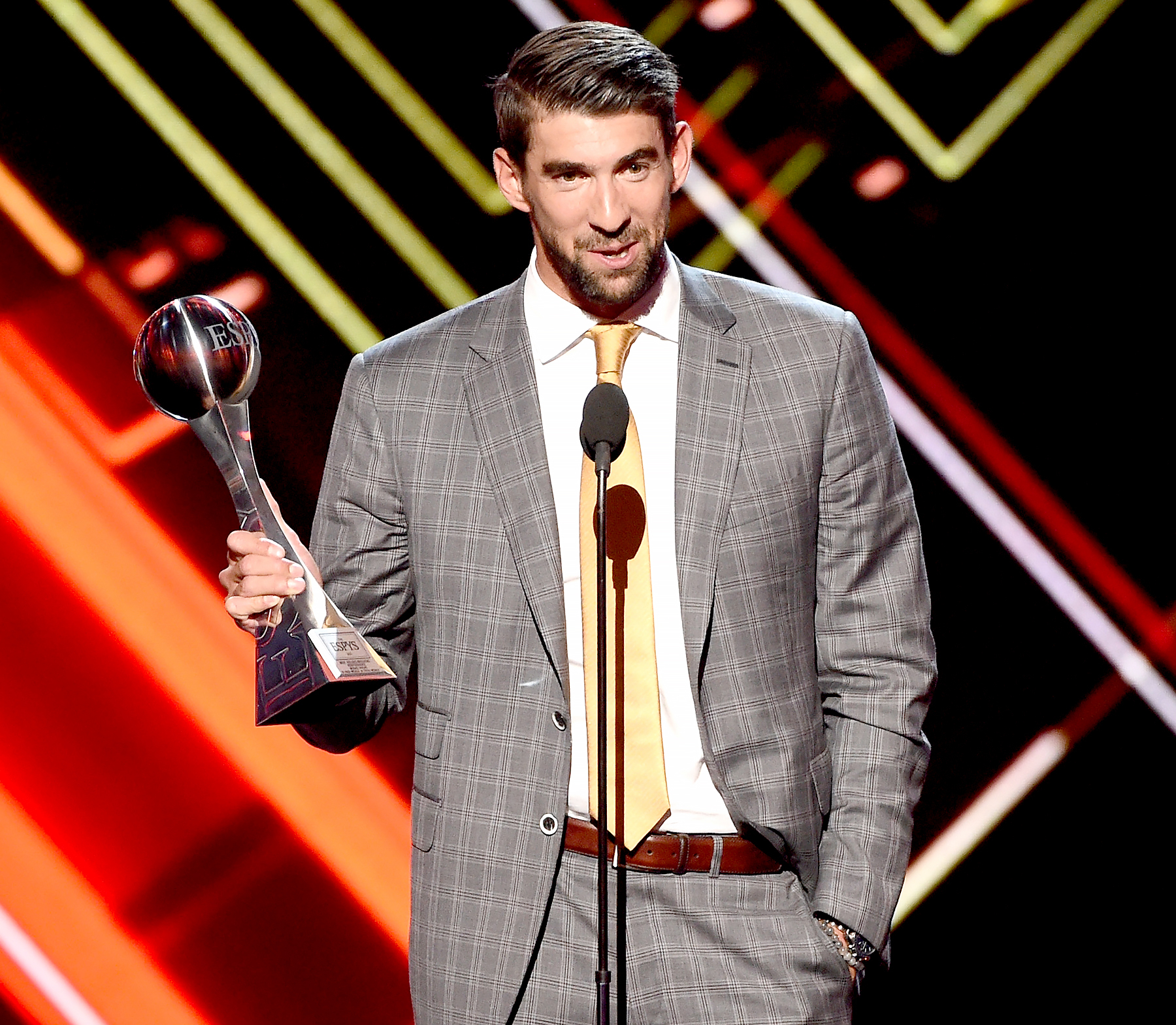 Michael Phelps accepts the Best Record-Breaking Performance award onstage at The 2017 ESPYS at Microsoft Theater on July 12, 2017 in Los Angeles, California.