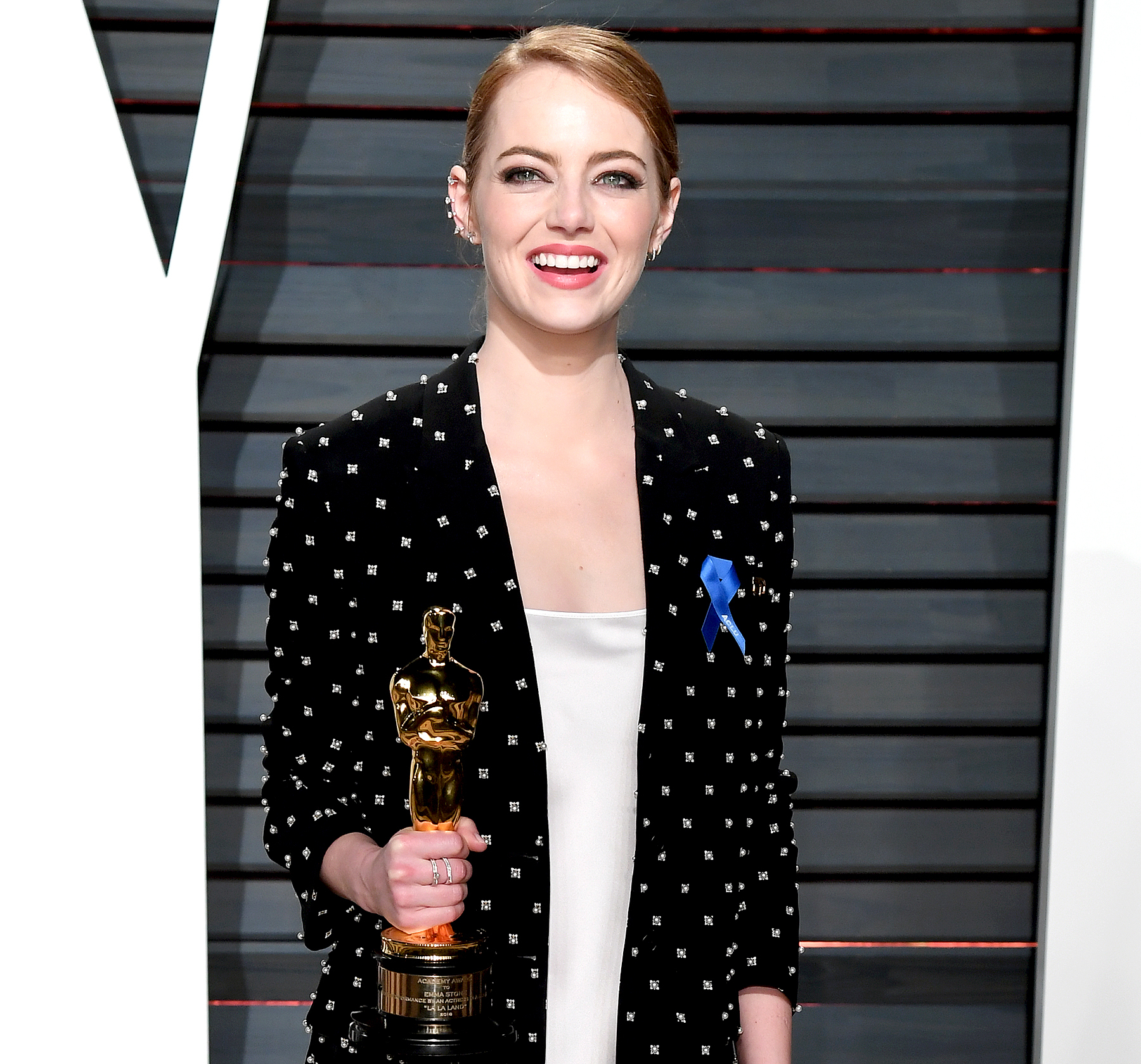 Emma Stone with her Oscar for Best Actress for 'La La Land' arriving at the 'Vanity Fair' Oscar Party in Beverly Hills, Los Angeles, USA.