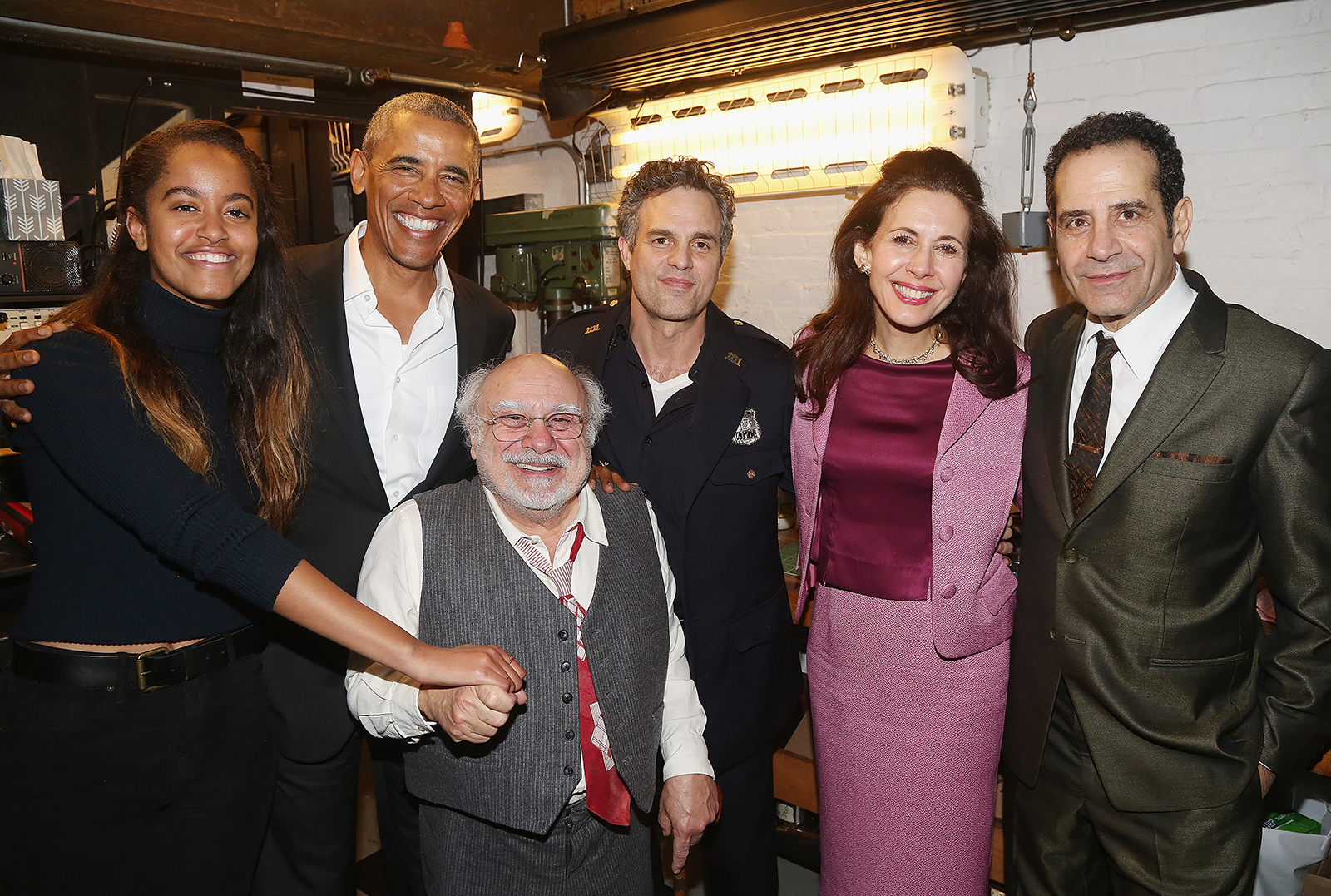 Malia and President Barack Obama with Danny DeVito, Mark Ruffalo, Jessica Hecht and Tony Shalhoub