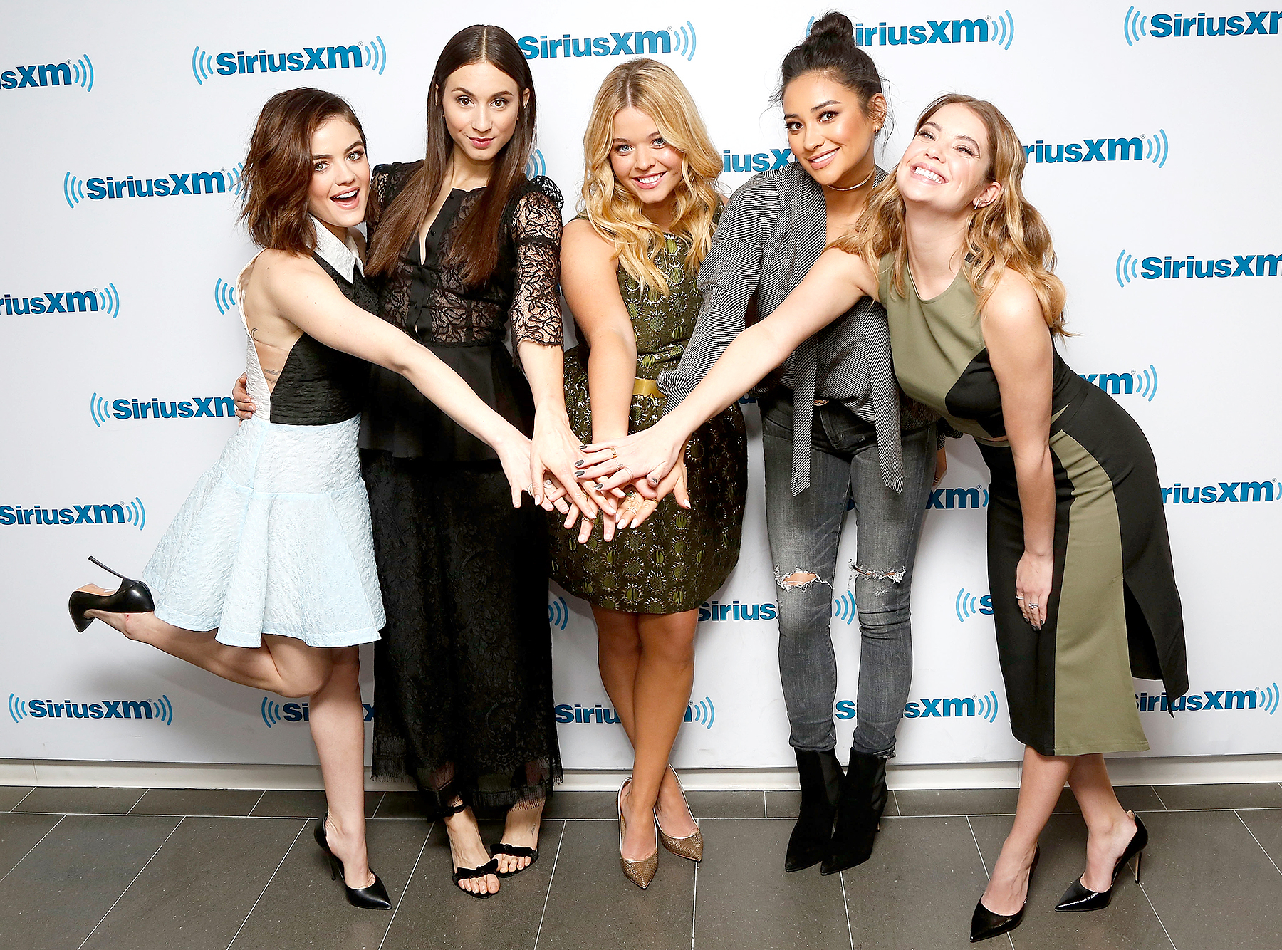 "Lucy Hale, Troian Bellisario, Sasha Pieterse, Shay Mitchell, and Ashley Benson of ""Pretty Little Liars"" visit SiriusXM Studios on January 11, 2016 in New York City."