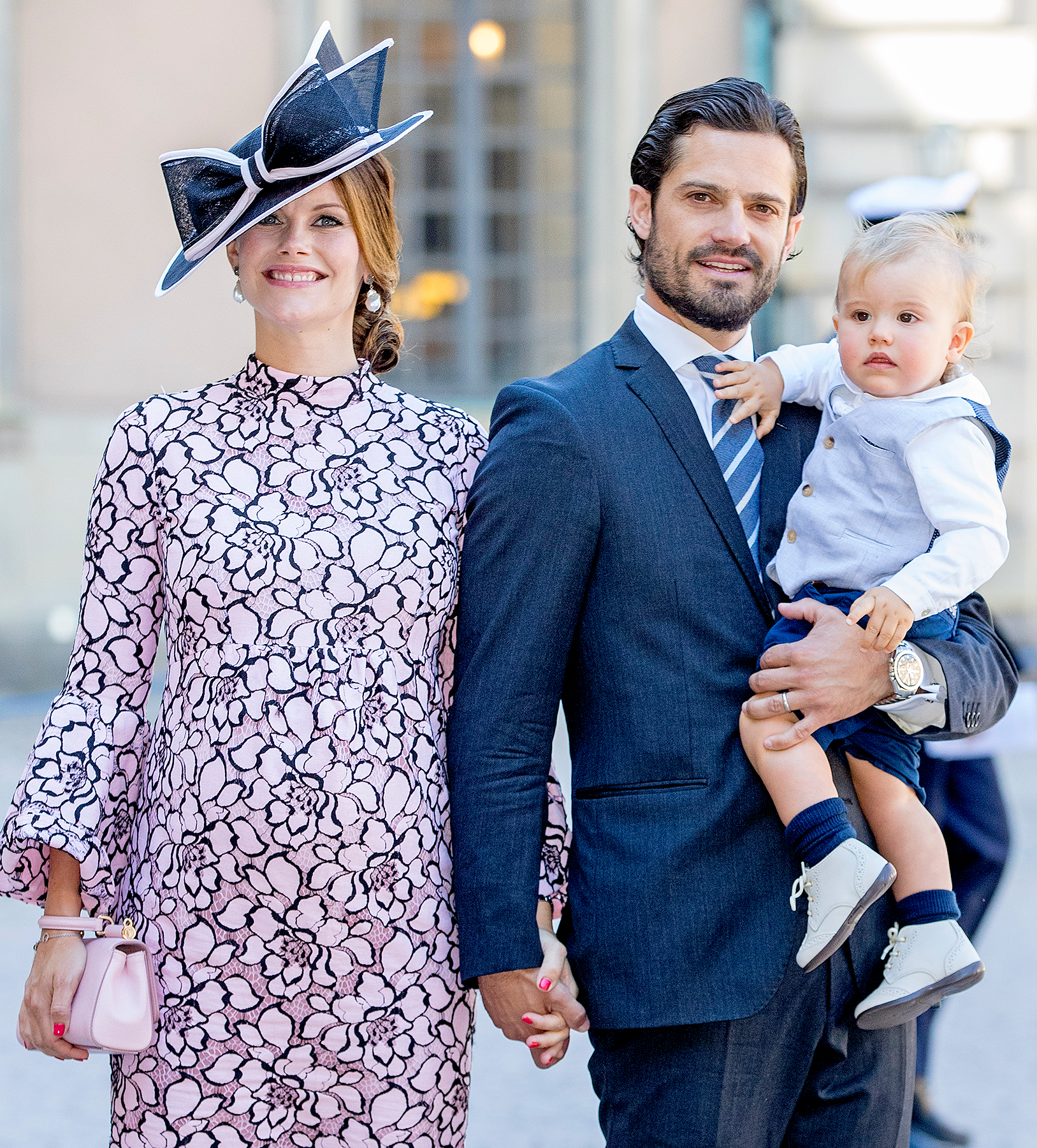 Prince Carl Philip of Sweden, Princess Sofia of Sweden and Prince Alexander arrive for a thanksgiving service on the occasion of The Crown Princess Victoria of Sweden's 40th birthday celebrations at the Royal Palace on July 14, 2017 in Stockholm, Sweden.