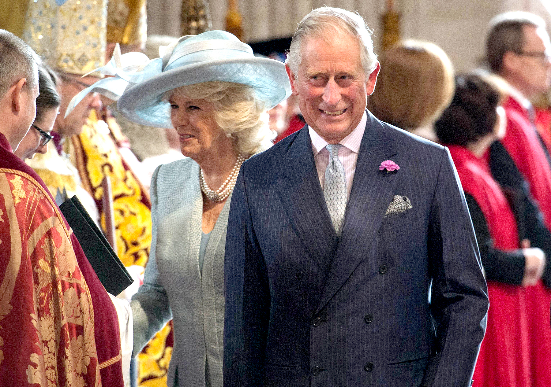 Britain's Prince Charles, Prince of Wales and Britain's Camilla, Duchess of Cornwall arrive to attend a national service of thanksgiving for the 90th birthday of Britain's Queen Elizabeth II at St Paul's Cathedral in London on June 10, 2016.