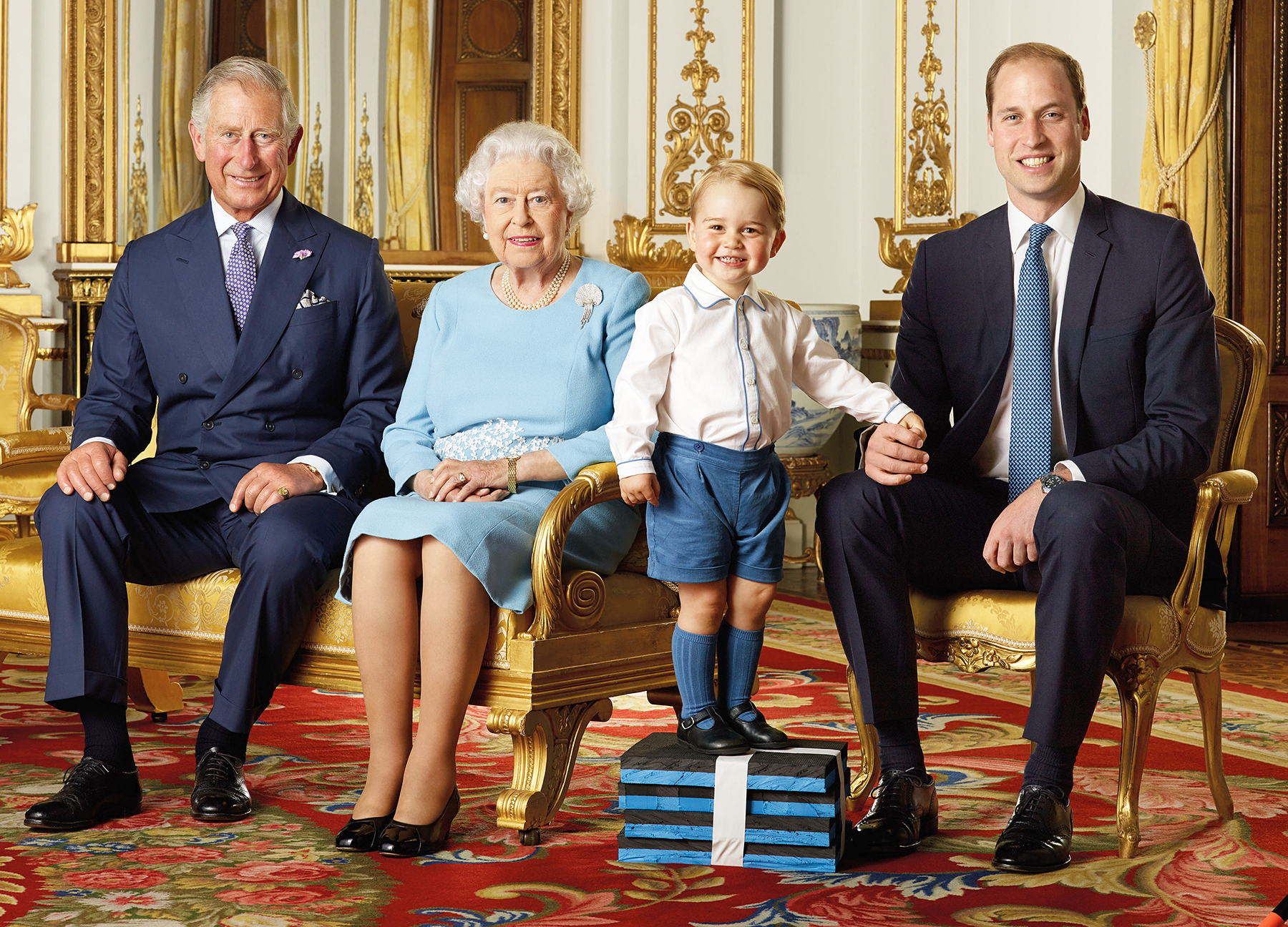 Prince Charles, Queen Elizabeth, Prince George and Prince William