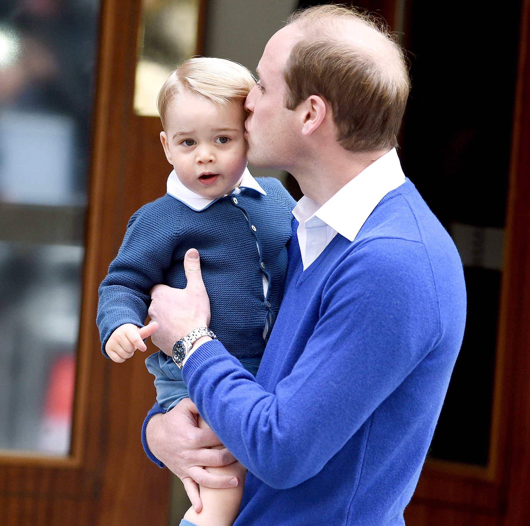 Prince William, Duke of Cambridge, and Prince George arrive at the Lindo Wing at St. Mary's Hospital on May 02, 2015 in London, England.