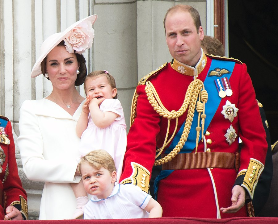 Prince George Prince William Kate Middleton grumpy Princess Charlotte Trooping the Colour