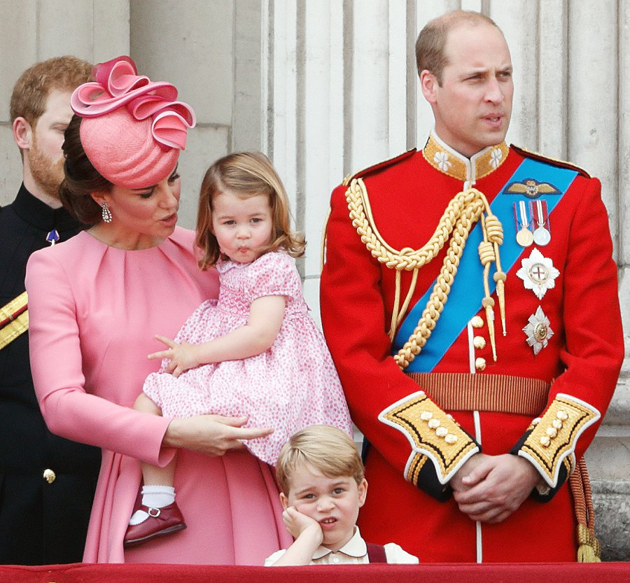 Prince George Prince William Kate Middleton Princess Charlotte Trooping the Colour grumpy