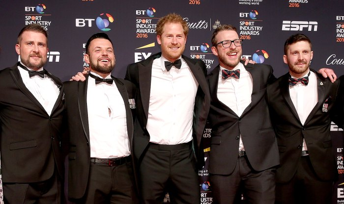 Prince Harry arrives with the UK Invictus team for BT Sport Industry Awards at Battersea Evolution on April 28, 2016 in London, England.