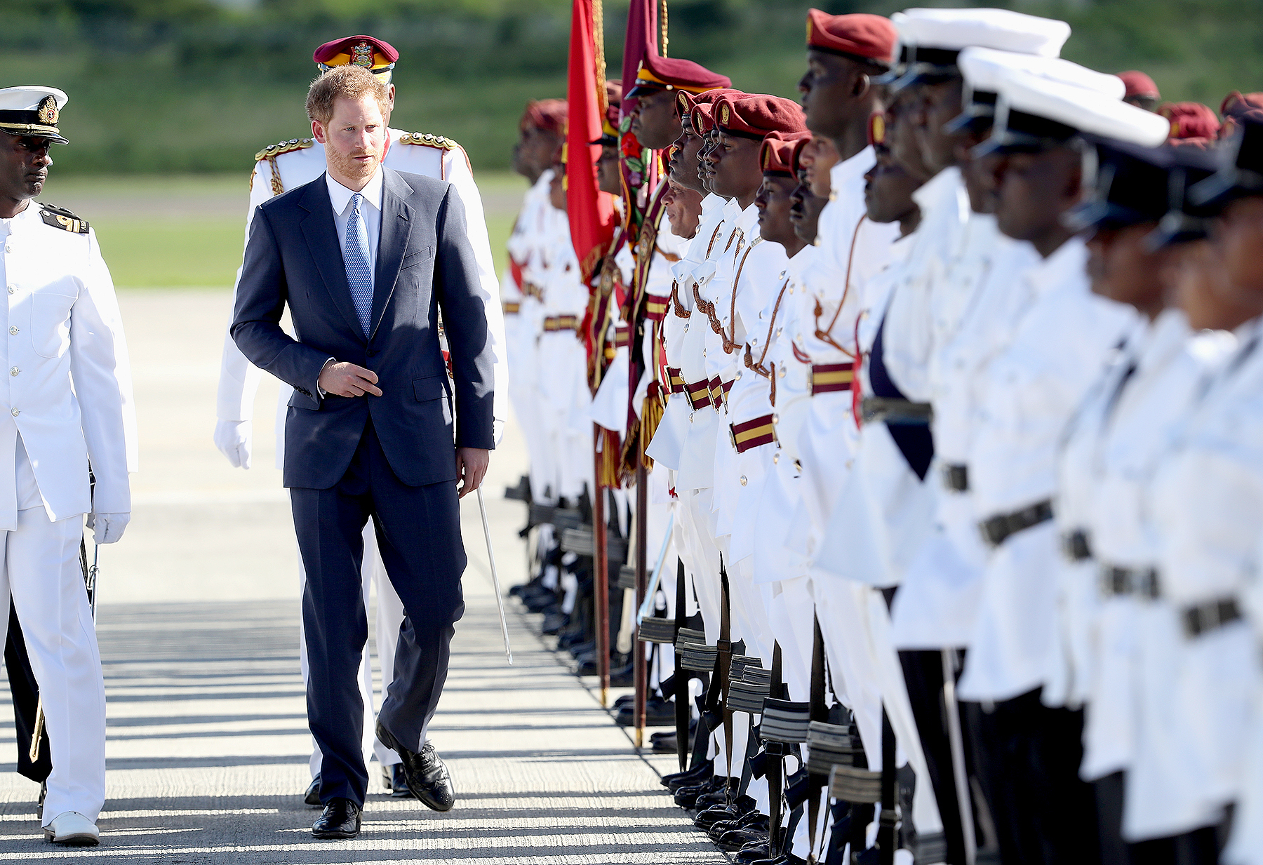 Prince Harry arrives at V.C. Bird International Airport on the first day of an official visit to the Caribbean on Nov. 20, 2016, in Antigua. Prince Harry's visit to the Caribbean marks the 35th anniversary of independence in Antigua and Barbuda and the 50th anniversary of independence in Barbados and Guyana.