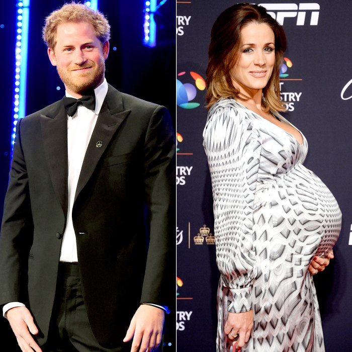 Prince Harry smiles on stage as he talks about the Invictus Games at Battersea Evolution on April 28, 2016 in London, England; Natalie Pinkham poses on the red carpet at the BT Sport Industry Awards 2016 at Battersea Evolution on April 28, 2016 in London, England.
