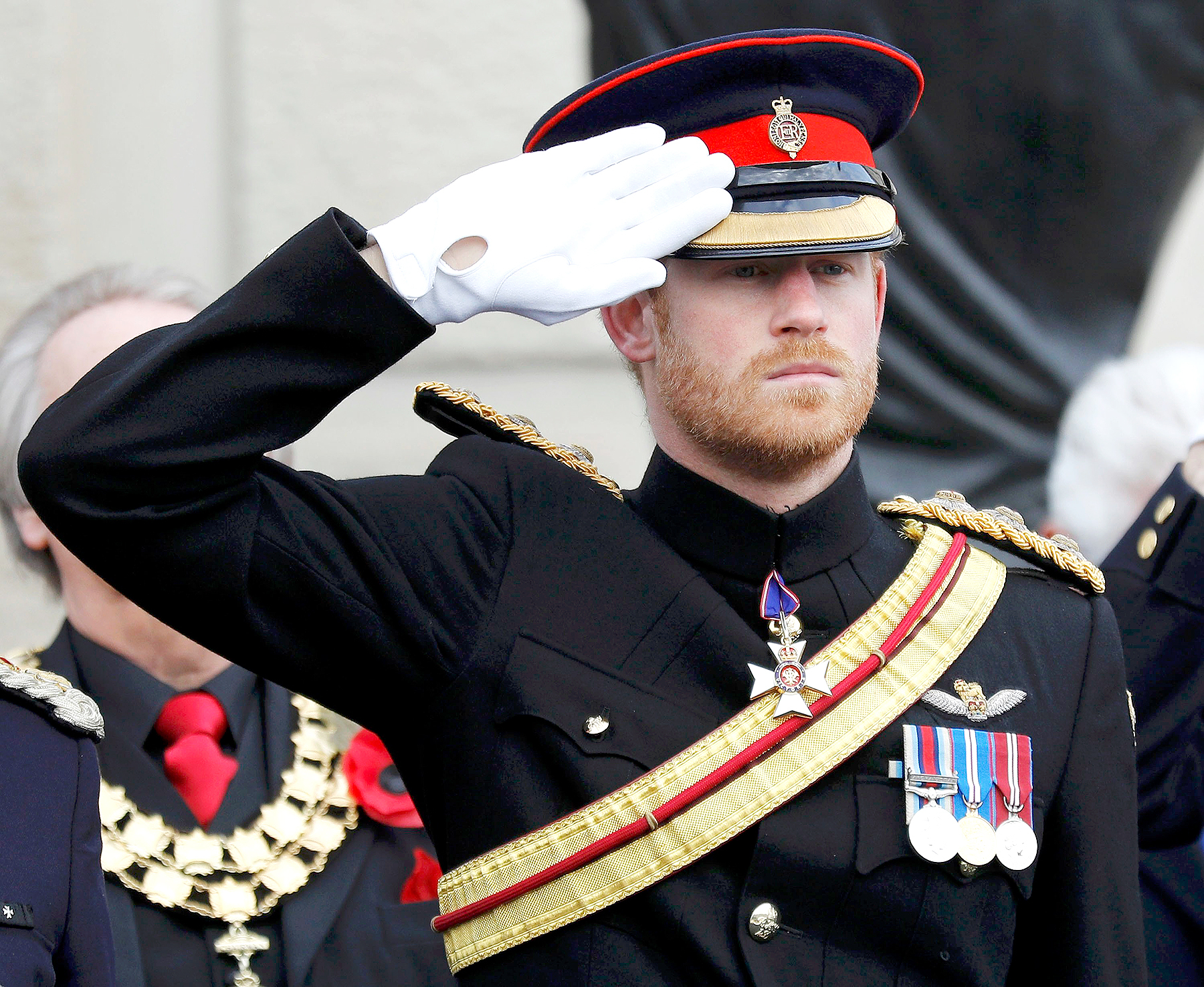 Prince Harry attends Armistice Day commemorations at the National Memorial Arboretum on November 11, 2016 in Stafford, United Kingdom.