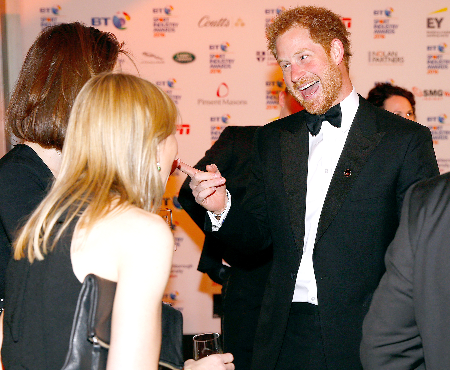 Prince Harry talks with guests at the BT Sport Industry Awards 2016 at Battersea Evolution on April 28, 2016 in London, England.