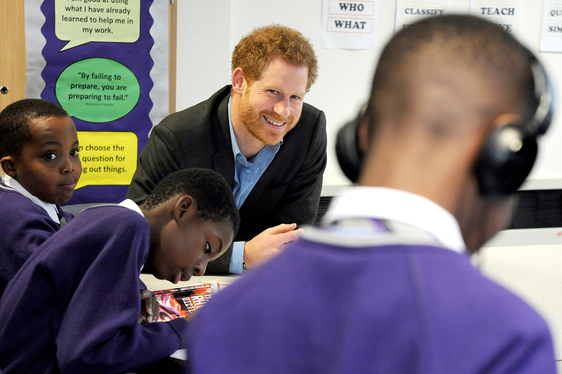 Britain's Prince Harry attends a lyrical writing class during a visit to the Full Effect and Coach Core programmes, two projects supported by The Royal Foundation that work to improve opportunities for young people, at Nottingham Academy, Nottingham, England, Wednesday, Feb. 1, 2017.