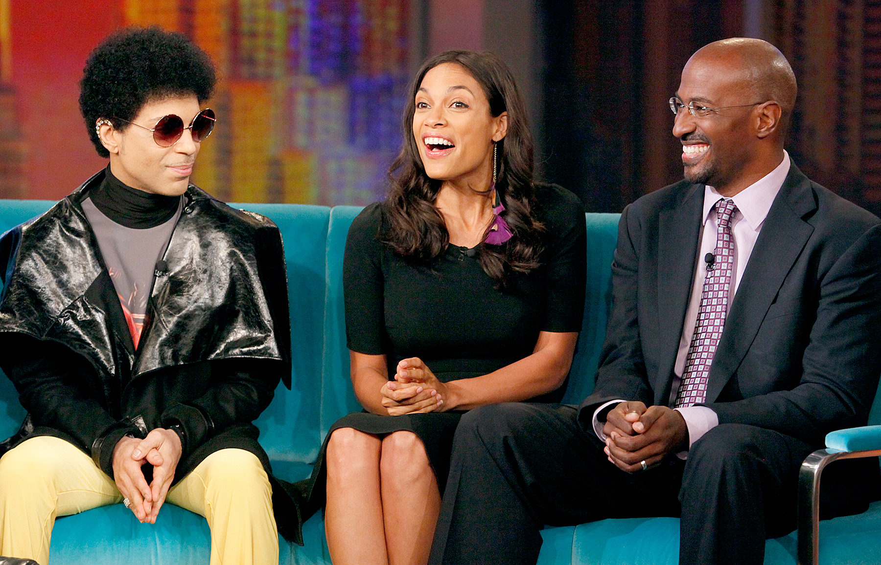 Prince appeared with actress Rosario Dawson and civil rights attorney/activist Van Jones on 'The View' in 2012.