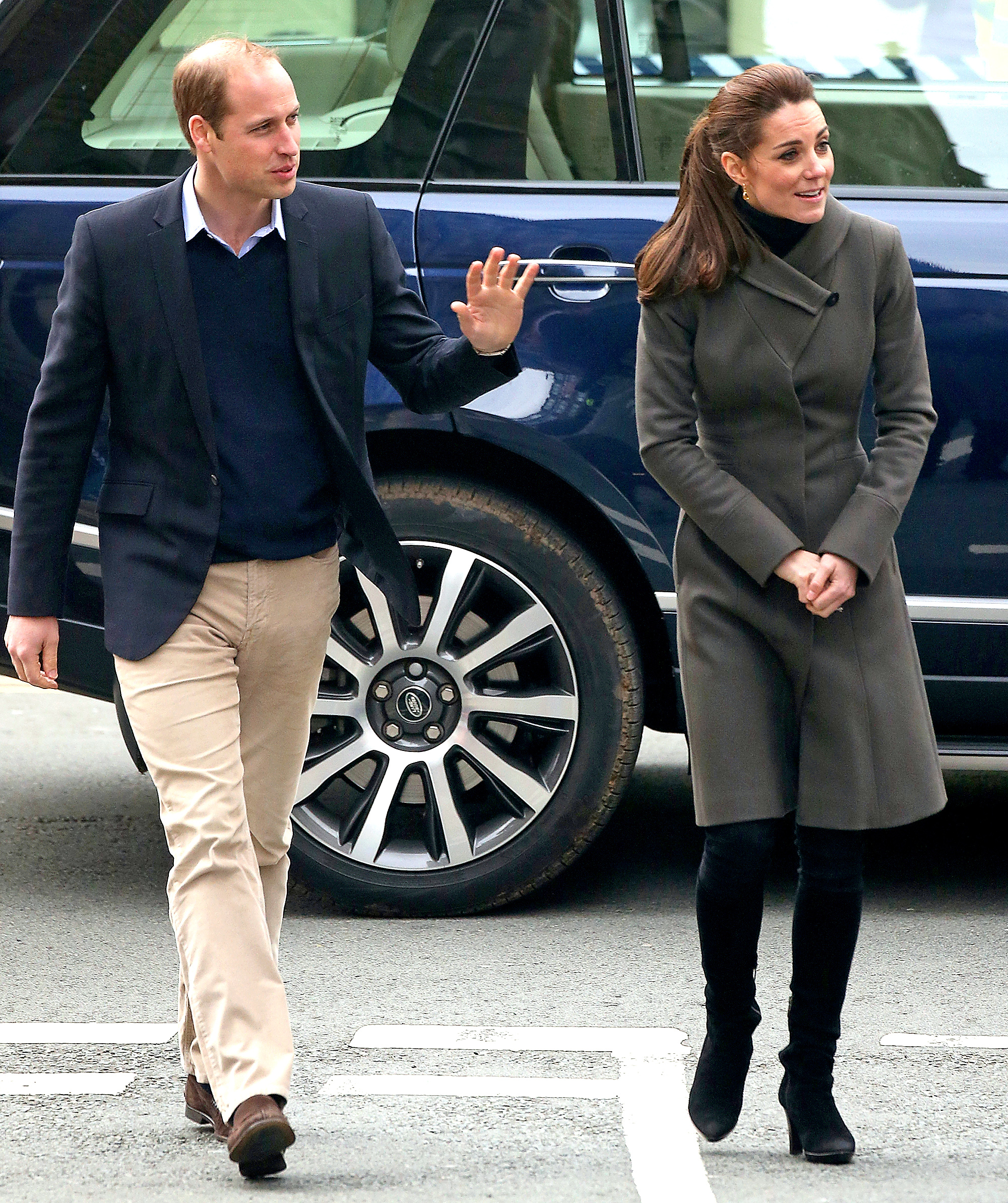Kate Middleton and Prince William are seen visiting Caernarfon on November 20, 2015 in Caernarfon, United Kingdom.