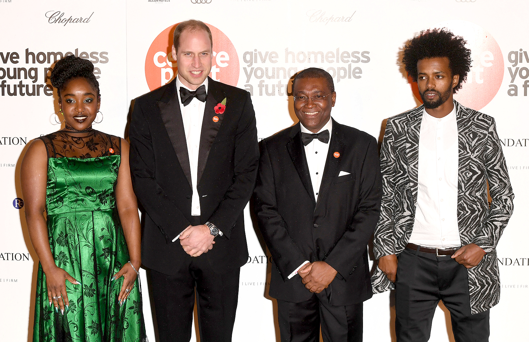 Prince William, The Duke Of Cambridge with Centrepoint CEO Seyi Obakin (2nd R) attends Centrepoint At The Palace at Kensington Palace on November 10, 2016 in London, England.