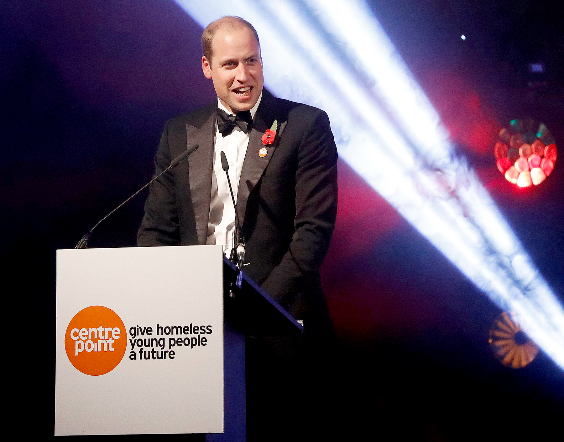 Britain's Prince William, Duke of Cambridge, gives a speech at Centrepoint at the Palace, a fundraising event in the grounds of Kensington Palace in London on November 10, 2016 in aid of youth homeless charity Centrepoint.
