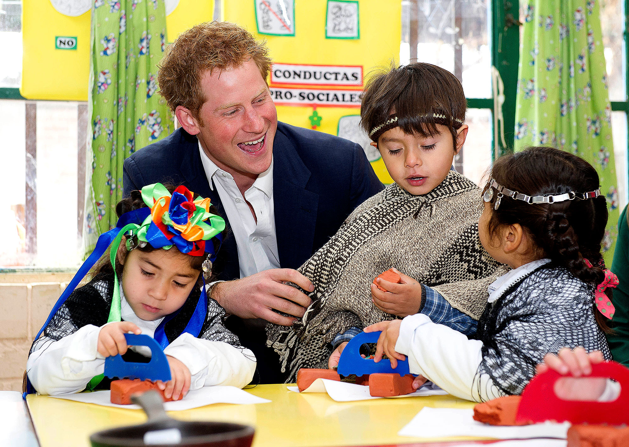 Prince Harry - He joined a group of kindergarteners for a game in Santiago, Chile, in June 2014.