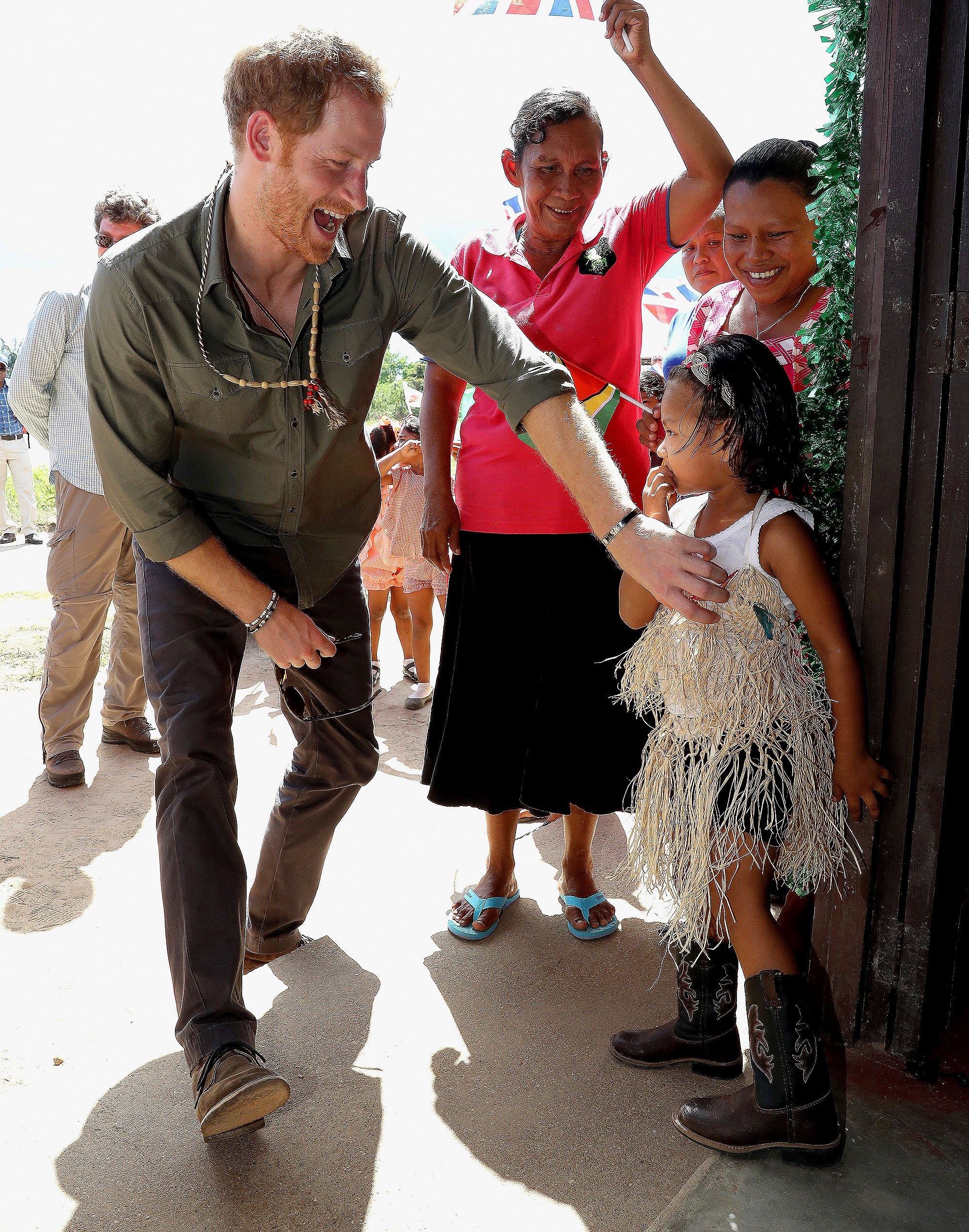 Prince Harry - He stopped in the village of Fairview in Guyana's Hinterland at the end of his Caribbean journey.