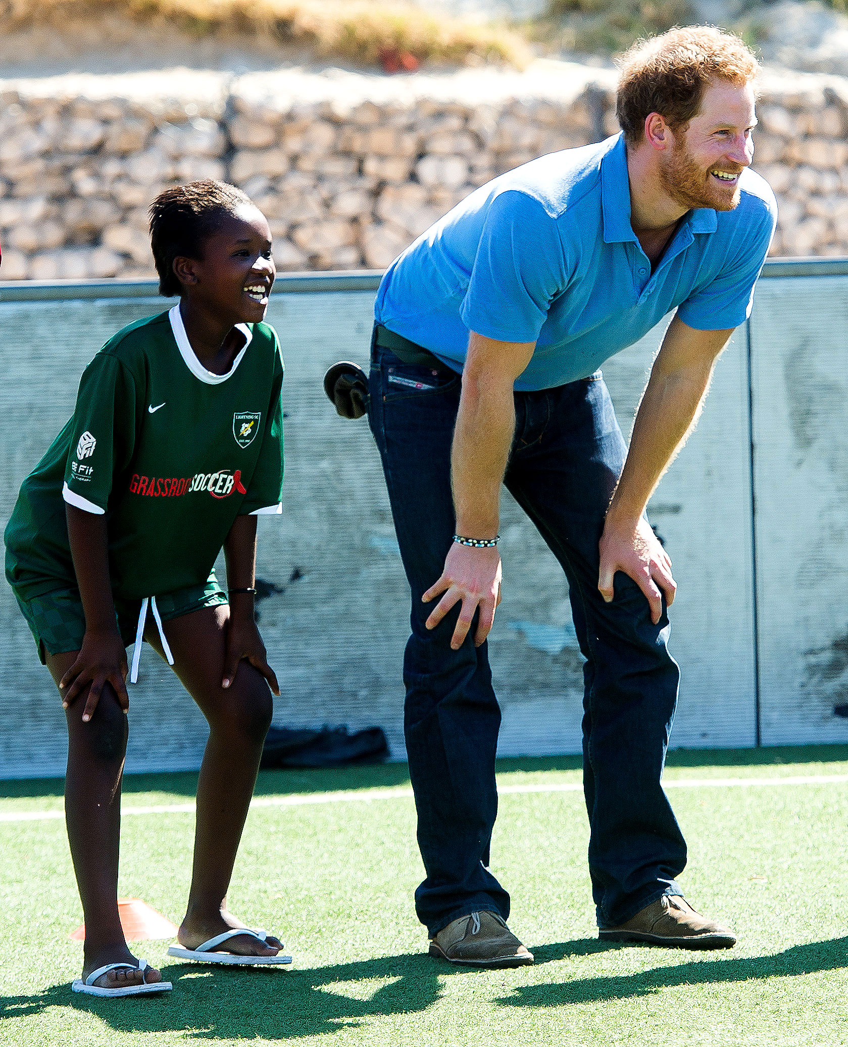 Prince Harry - The royal (in Cape Town, South Africa, in November 2015) practiced American soccer alongside Football For Hope Centre attendees.