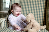 Princess Charlotte of Cambridge plays with a teddy as she is seen at Anmer Hall earlier this month taken by Catherine, Duchess of Cambridge in Sandringham, England.