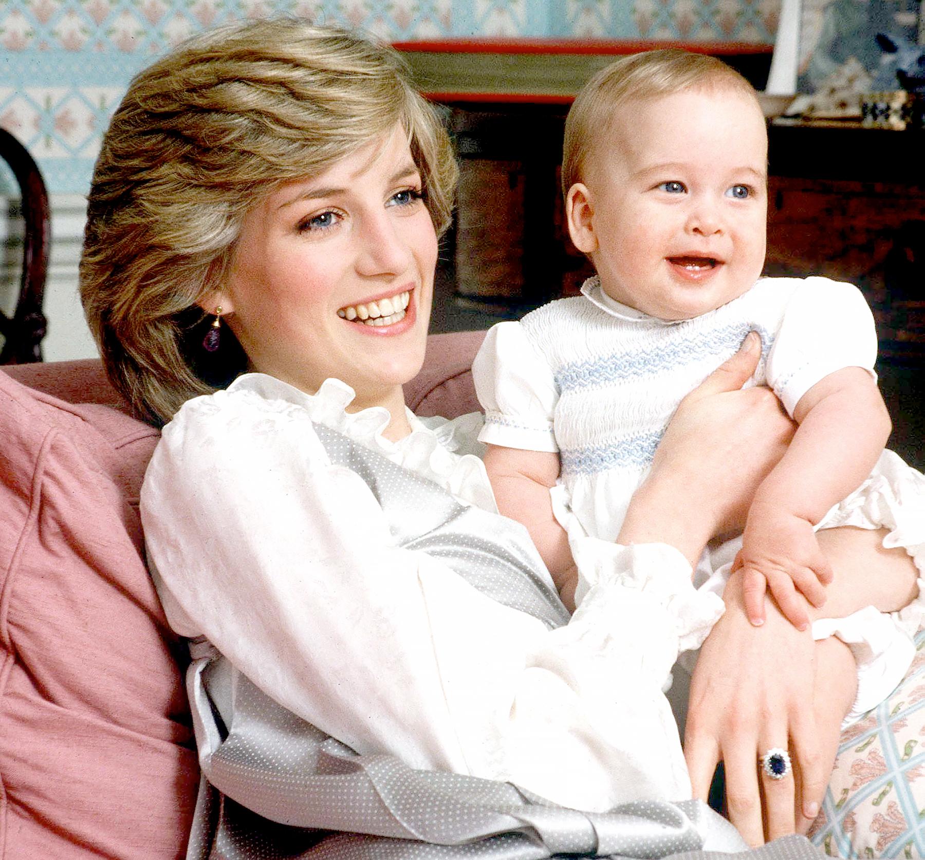 Princess Diana with her son, Prince William, at Kensington Palace.