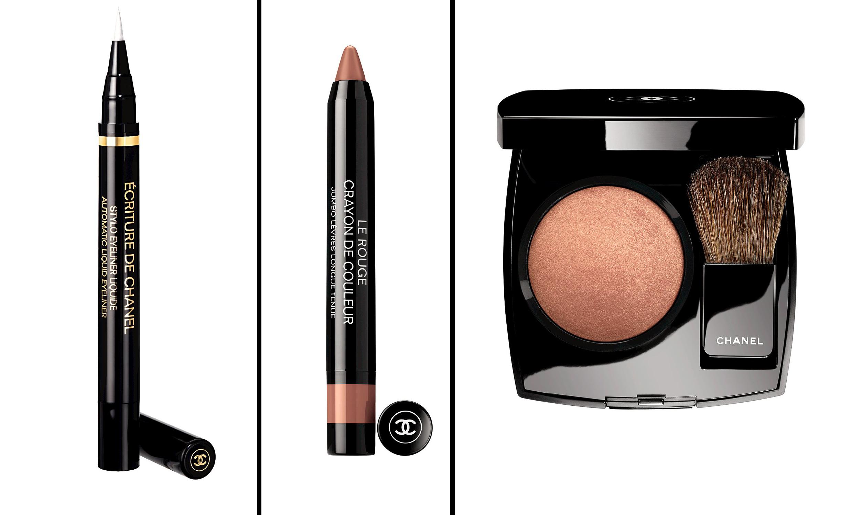 Ecriture De Chanel Automatic Liquid Liner, Jumbo Longwear Lip Crayon in Nude, Joues Contraste Powder Blush in Elegance