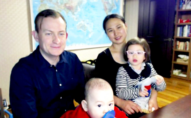 Professor Robert Kelly, Jung-a Kim and their children James and Marion