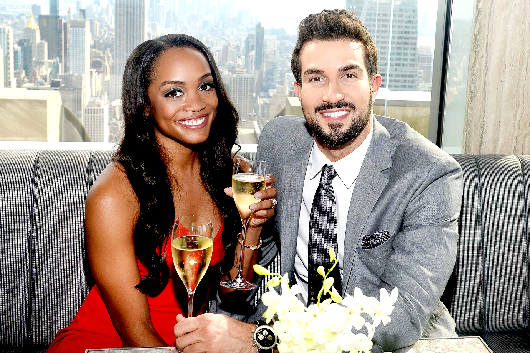 Rachel Lindsay and Bryan Abasolo celebrating their engagement overlooking beautiful views at Bar SixtyFive at the Rainbow Room on August 8, 2017.