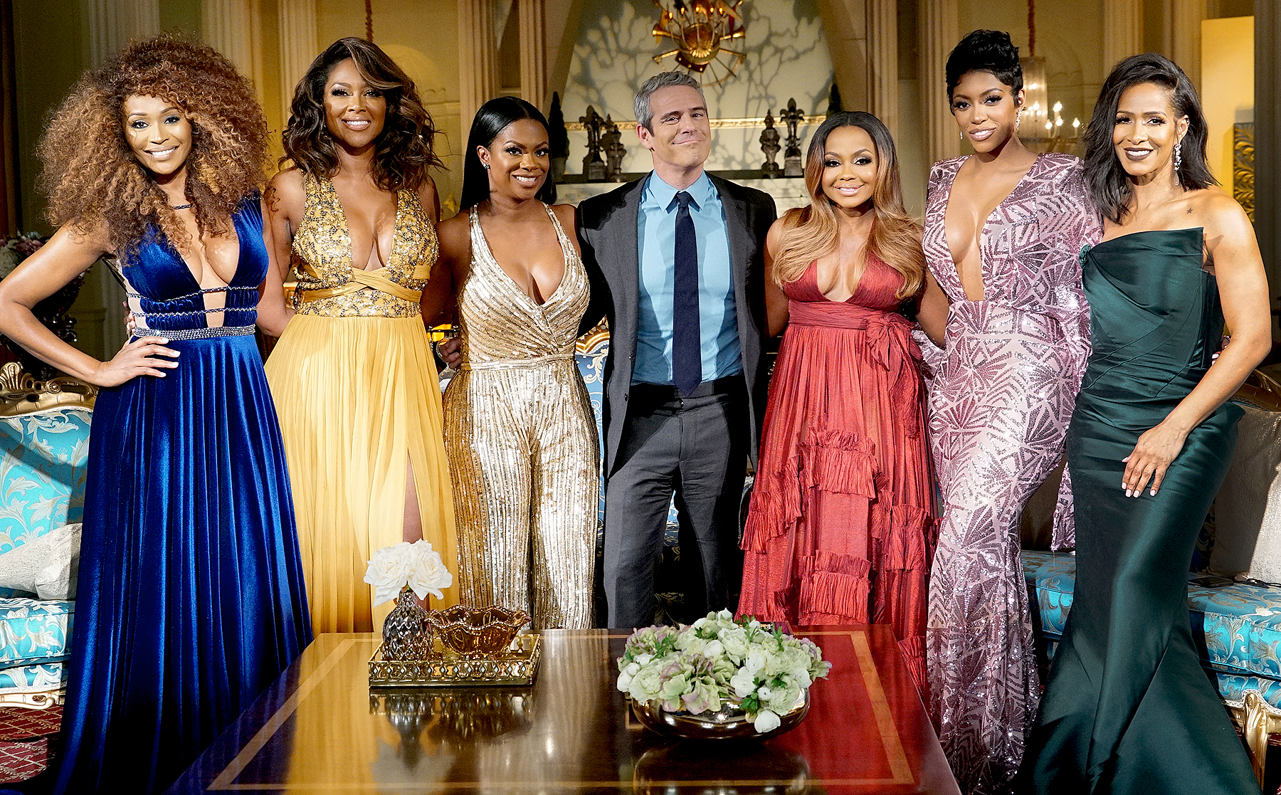 Cynthia Bailey, Kenya Moore, Kandi Burruss, Andy Cohen, Phaedra Parks, Porsha Williams and Sheree Whitfield attend the 'Real Housewives of Atlanta' reunion in April 2017.