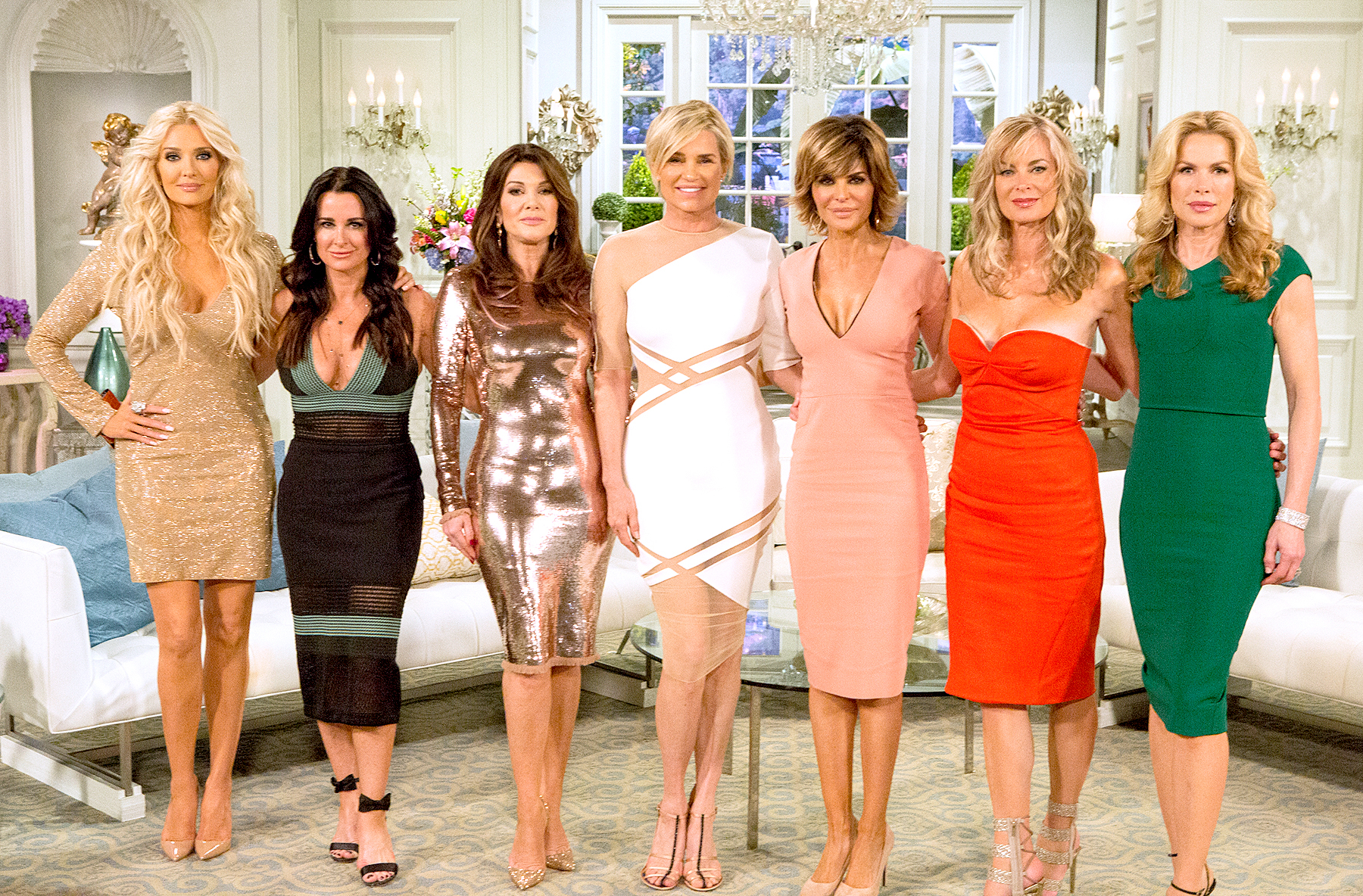 Erika Girardi, Kyle Richards, Lisa Vanderpump, Yolanda H. Foster, Lisa Rinna, Eileen Davidson, and Kathryn Edwards at the The Real Housewives Of Beverly Hills Reunion.
