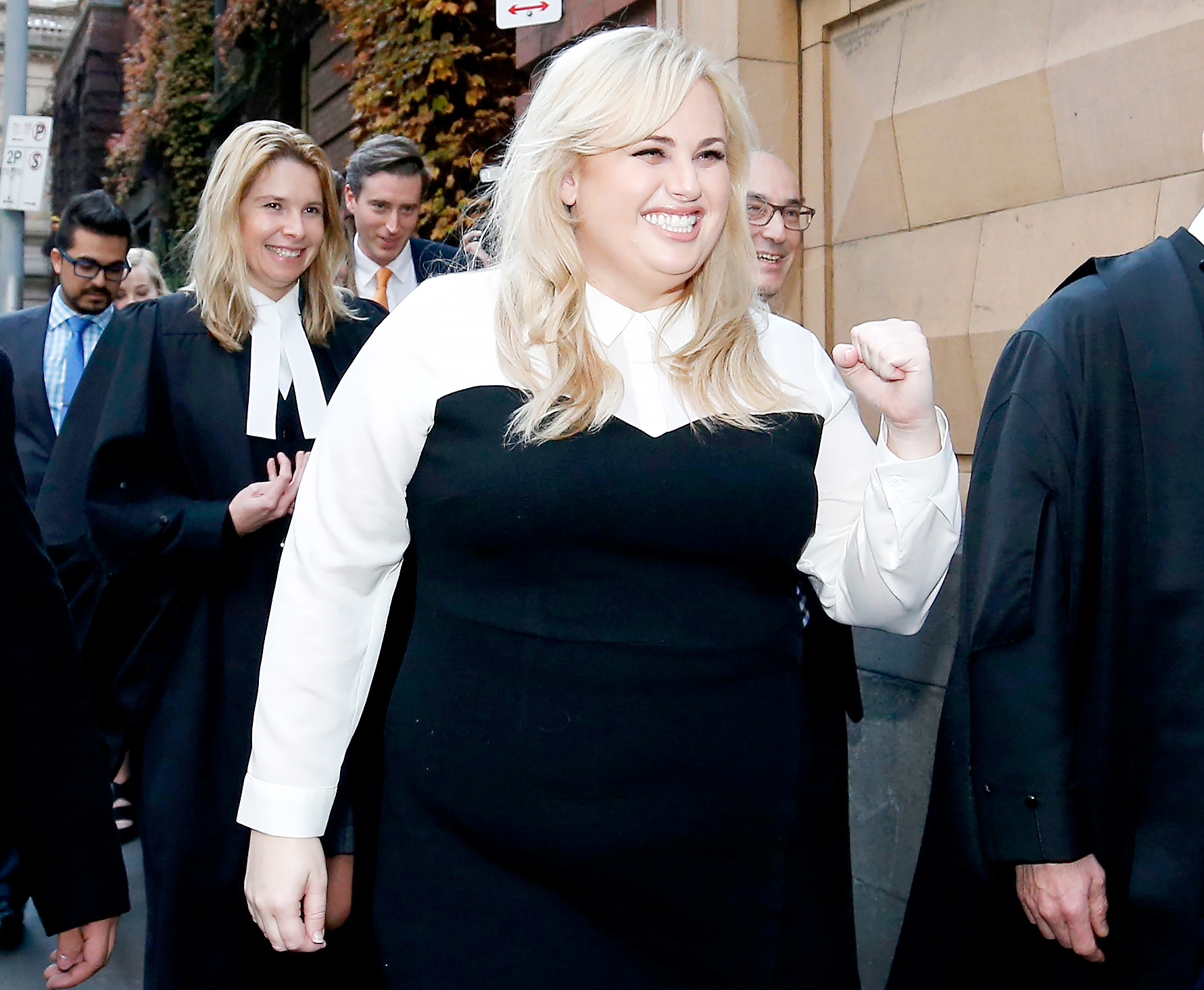 Rebel Wilson pumps her fist at the media on June 15, 2017 in Melbourne, Australia.