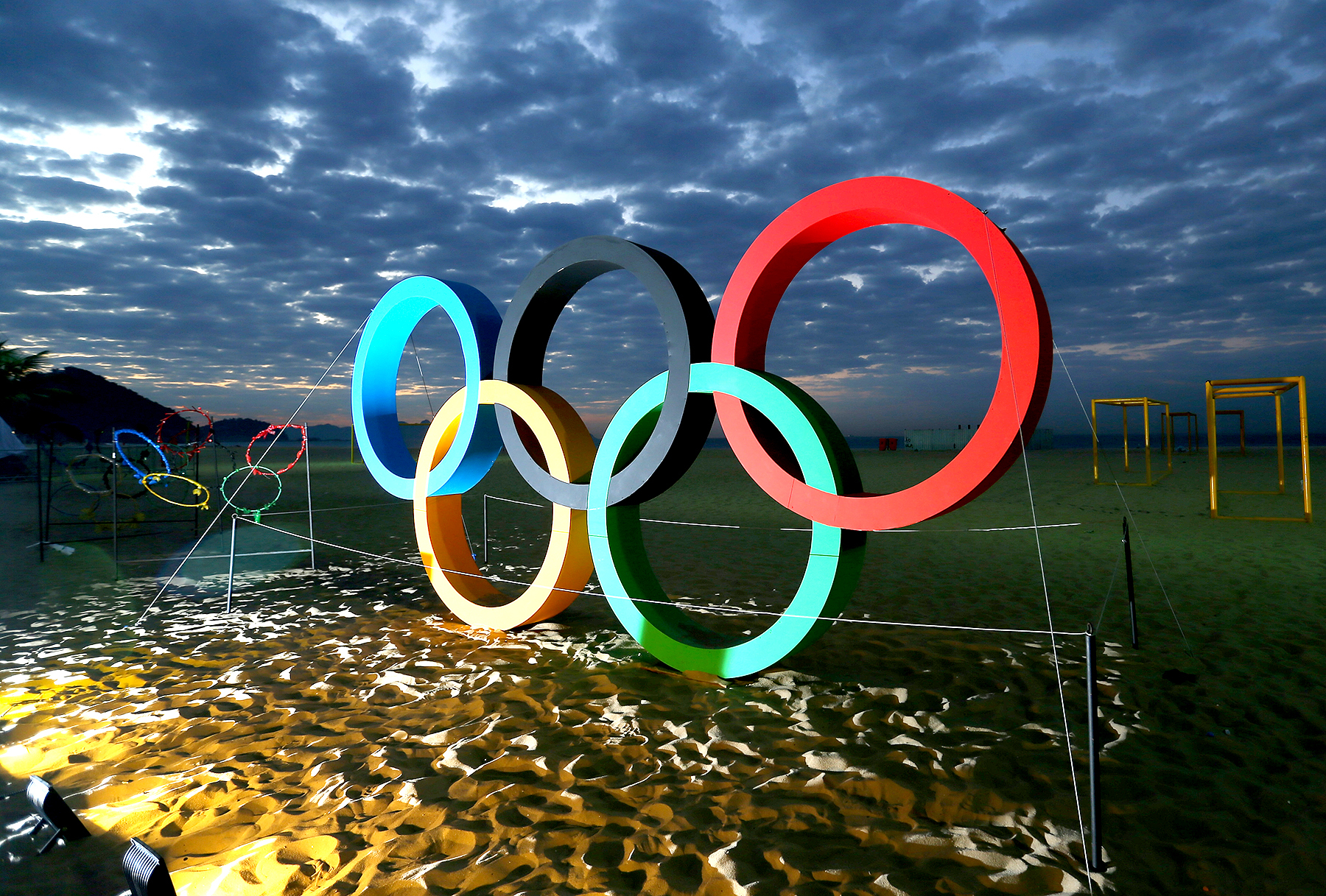 The Olympic Rings are displayed at the Copacabana beach ahead of the Rio 2016 Olympic Games on August 2, 2016 in Rio de Janeiro, Brazil.