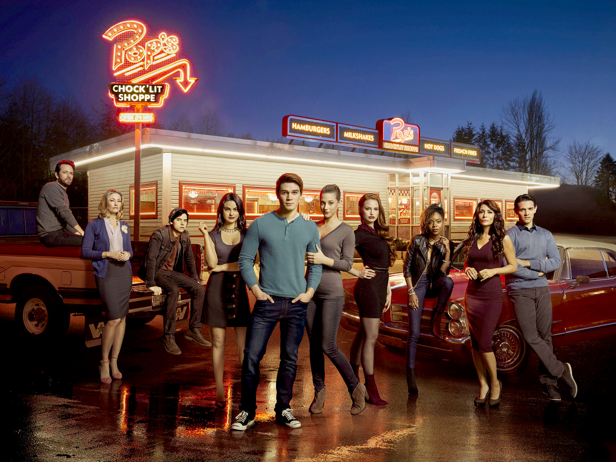 Luke Perry as Fred Andrews, Madchen Amick as Alice Cooper, Cole Sprouse as Jughead Jones, Camila Mendes as Veronica Lodge, KJ Apa as Archie Andrews, Lili Reinhart as Betty Cooper, Madelaine Petsch as Cheryl Blossom, Ashleigh Murray as Josie McCoy, Marisol Nichols as Hermione Lodge, and Casey Cott as Kevin Keller