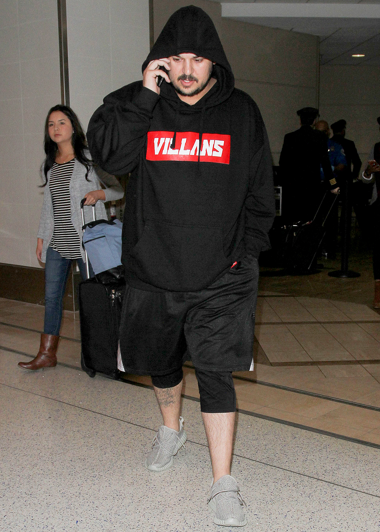 Rob Kardashian is seen at LAX on March 08, 2016 in Los Angeles, California.