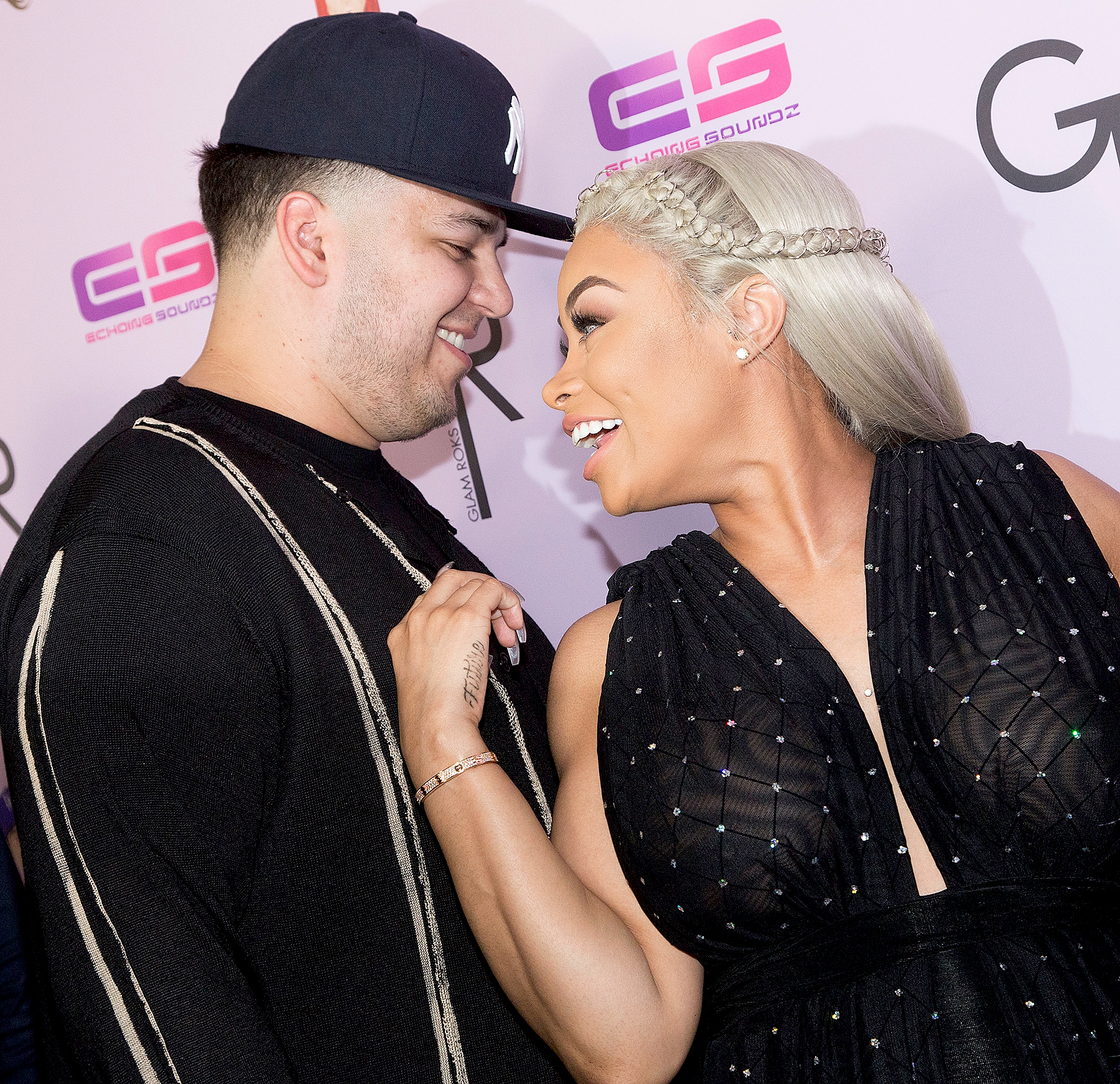 Blac Chyna and Rob Kardashian arrive for her birthday celebration and unveiling of her