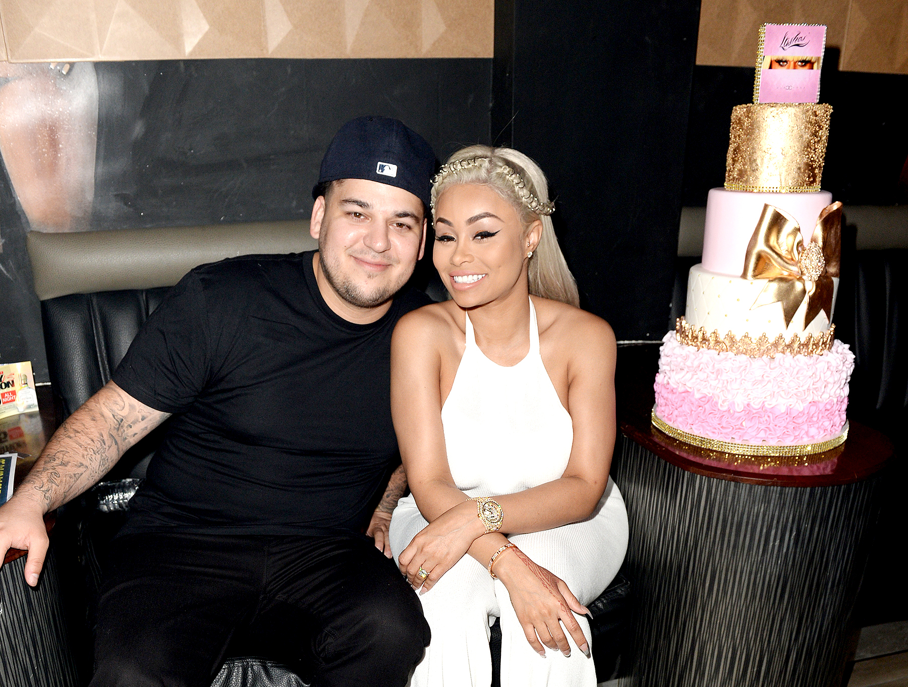 Blac Chyna and Rob Kardashian are all smiles as they celebrate Chyna's twenty-eighth birthday at the G5ive Strip Club in Miami in 2016.