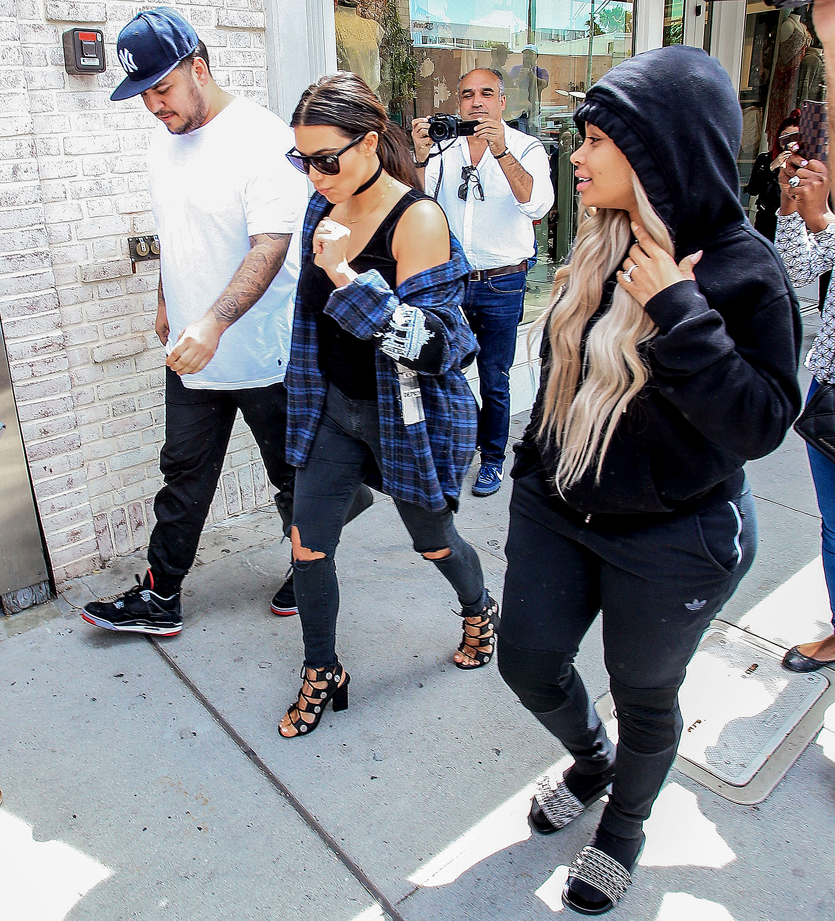 Kim Kardashian, Rob Kardashian, and Blac Chyna are seen on April 26, 2016 in Los Angeles, California.
