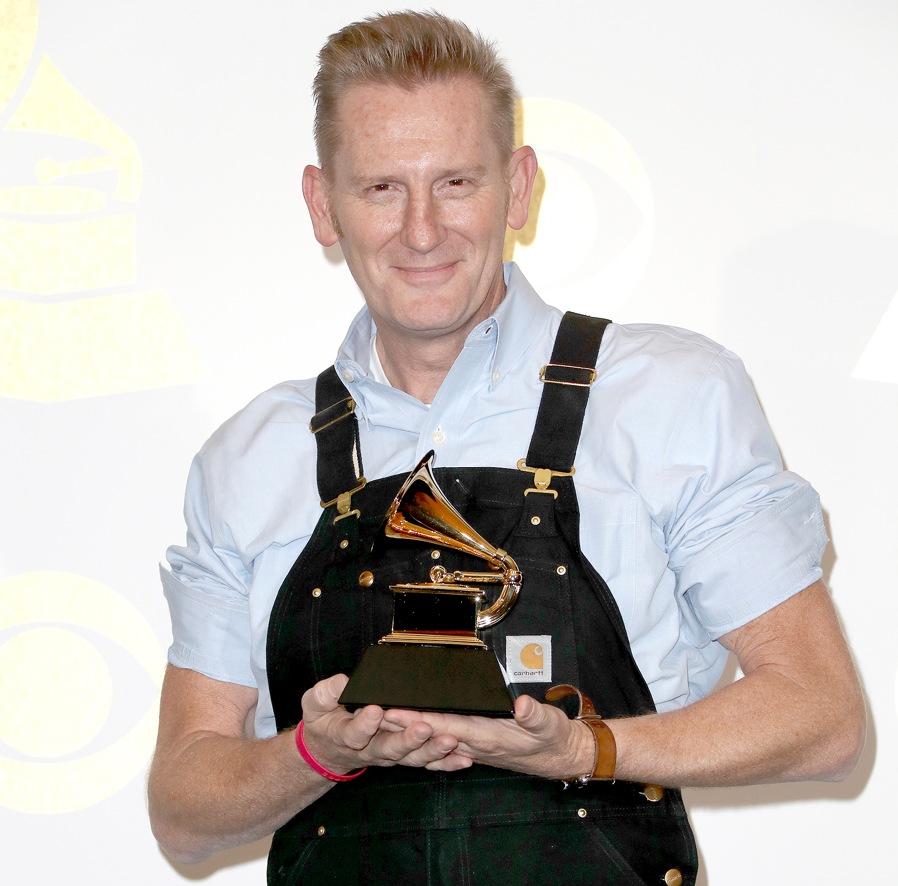 Rory Feek of Joey + Rory accepts the award for Best Roots Gospel Album for 'Hymns That Are Important to Us' and poses in the pressroom during the 59th Annual Grammy Awards at the Staples Center on Feb. 12, 2017, in Los Angeles.