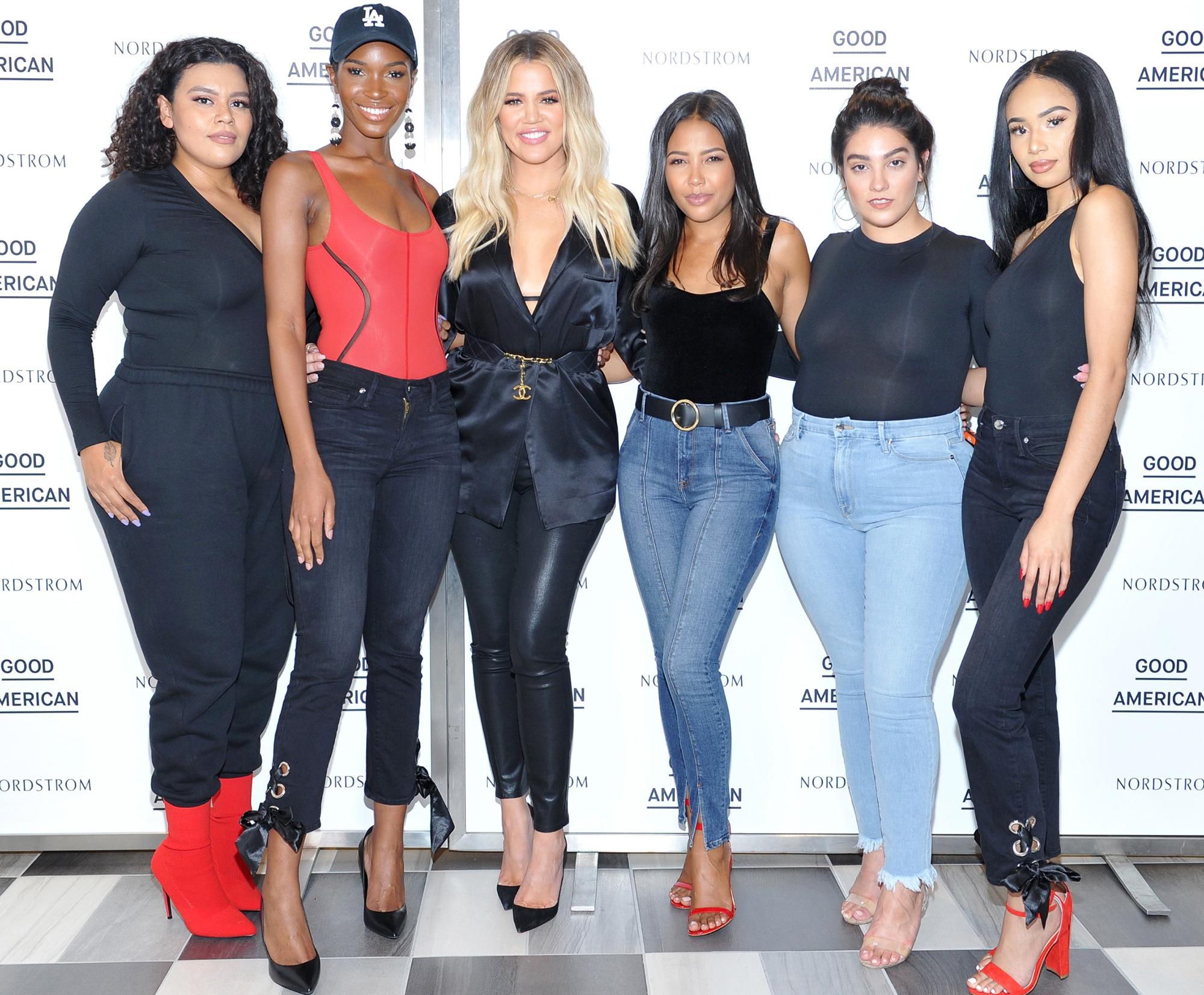 Roxy Reyes, Shae Scott, Khloe Kardashian, Emma Grede, Nadia Aboulhosn and Symphani Soto, Good American Anniversary Celebration