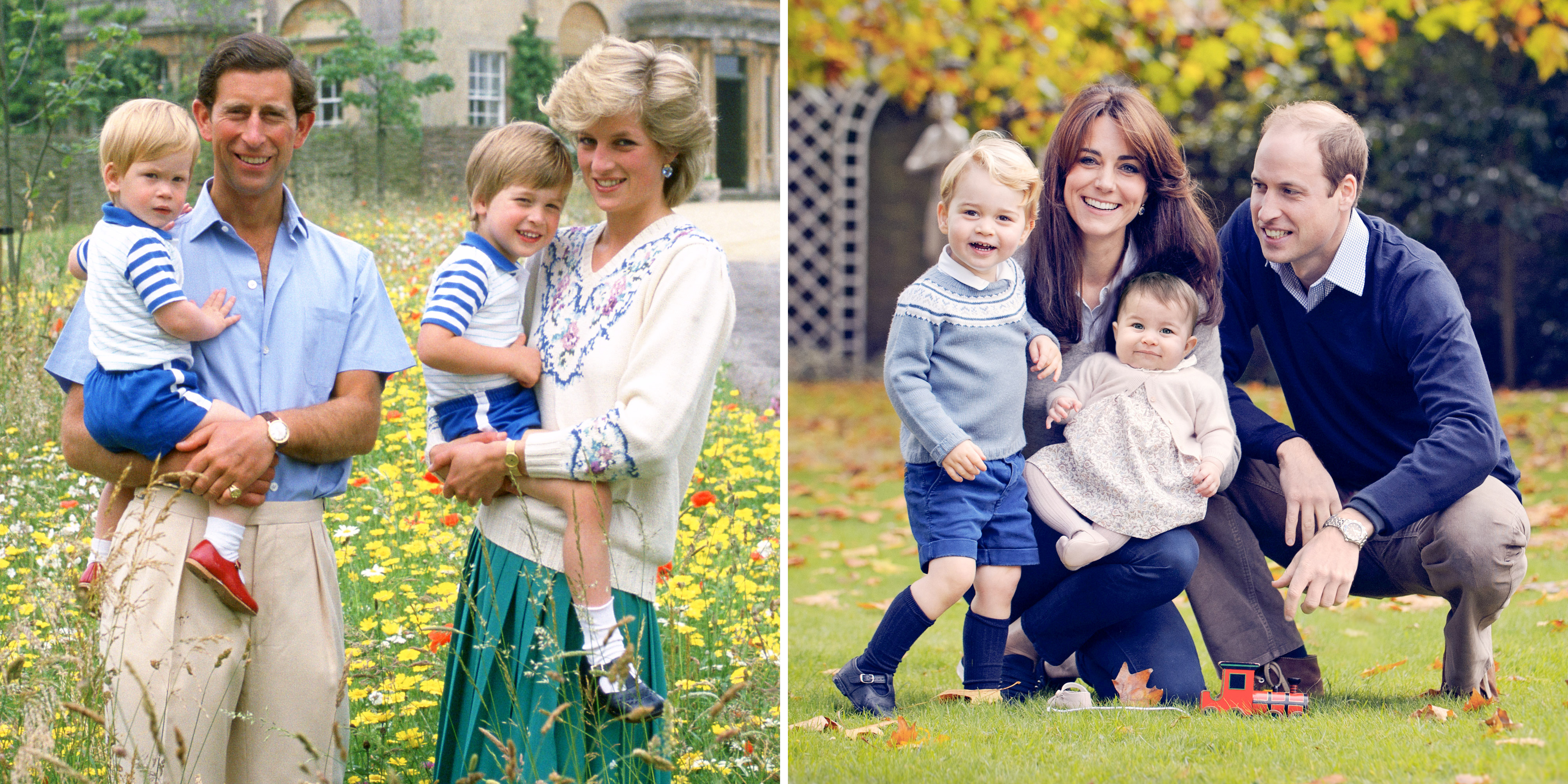 Compare The 1986 Royal Family Photo Of Prince Charles And Princess Diana With Their Sons To New 2015 Portrait William His Wife Kate