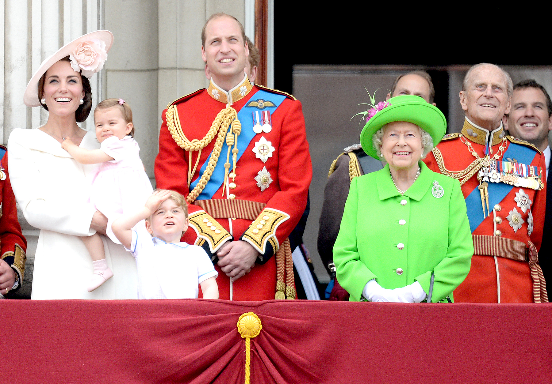 Catherine, Duchess of Cambridge, Princess Charlotte of Cambridge, Prince George of Cambridge, Prince William, Duke of Cambridge, Queen Elizabeth II and Prince Philip, The Duke of Edinburgh during the Trooping the Colour, this year marking the Queen's official 90th birthday at The Mall on June 11, 2016.