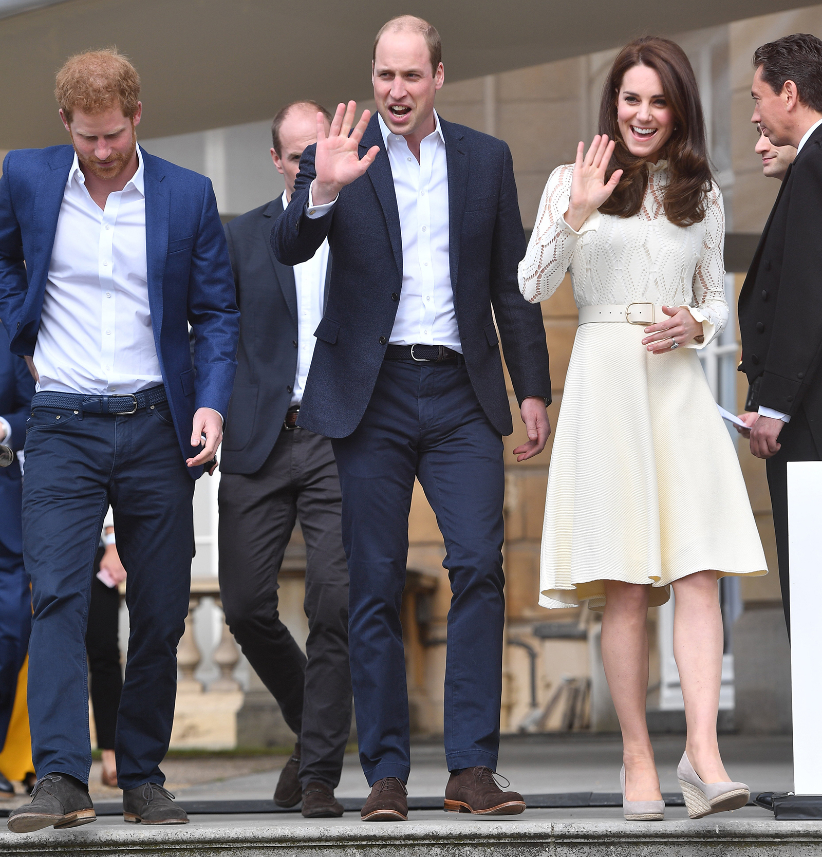 Prince Harry and William with Princess Kate