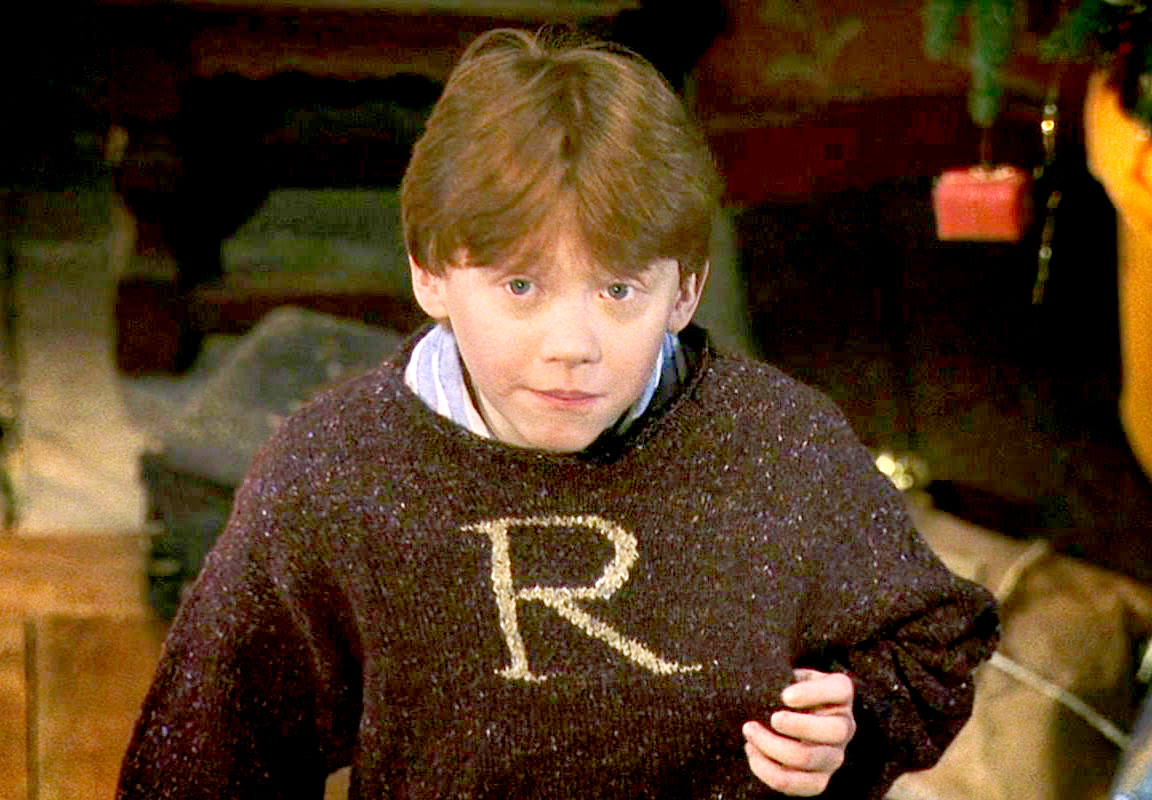 Rupert Grint as Ron in Harry Potter.