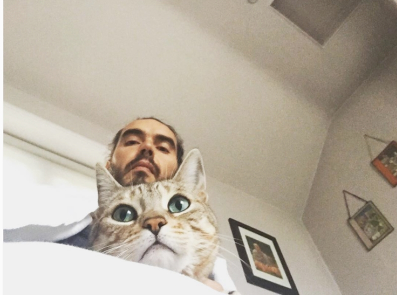 Russell Brand and Cat