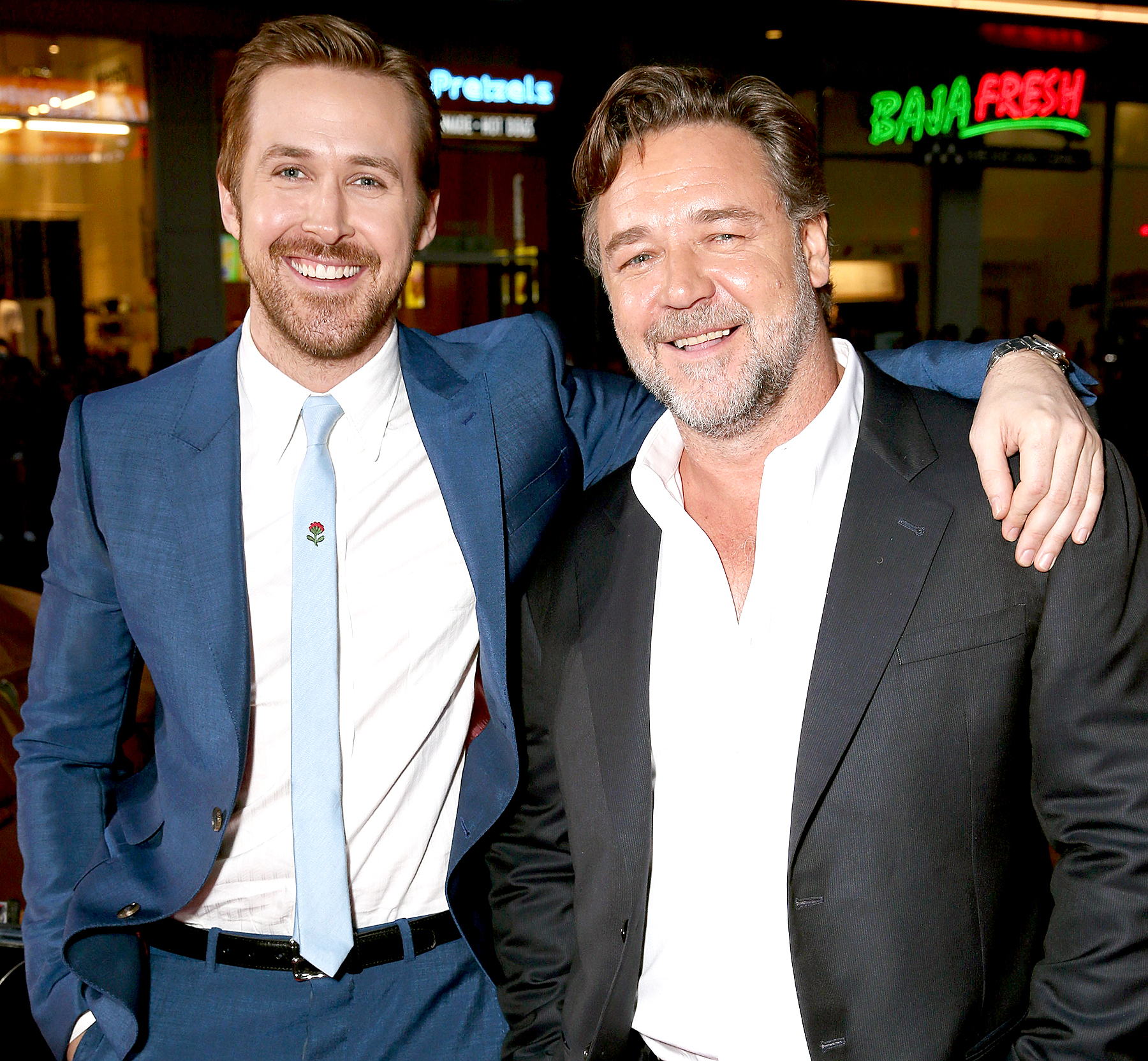 Ryan Gosling and Russell Crowe attend the premiere of Warner Bros. Pictures' 'The Nice Guys' at TCL Chinese Theatre on May 10, 2016 in Hollywood, California.