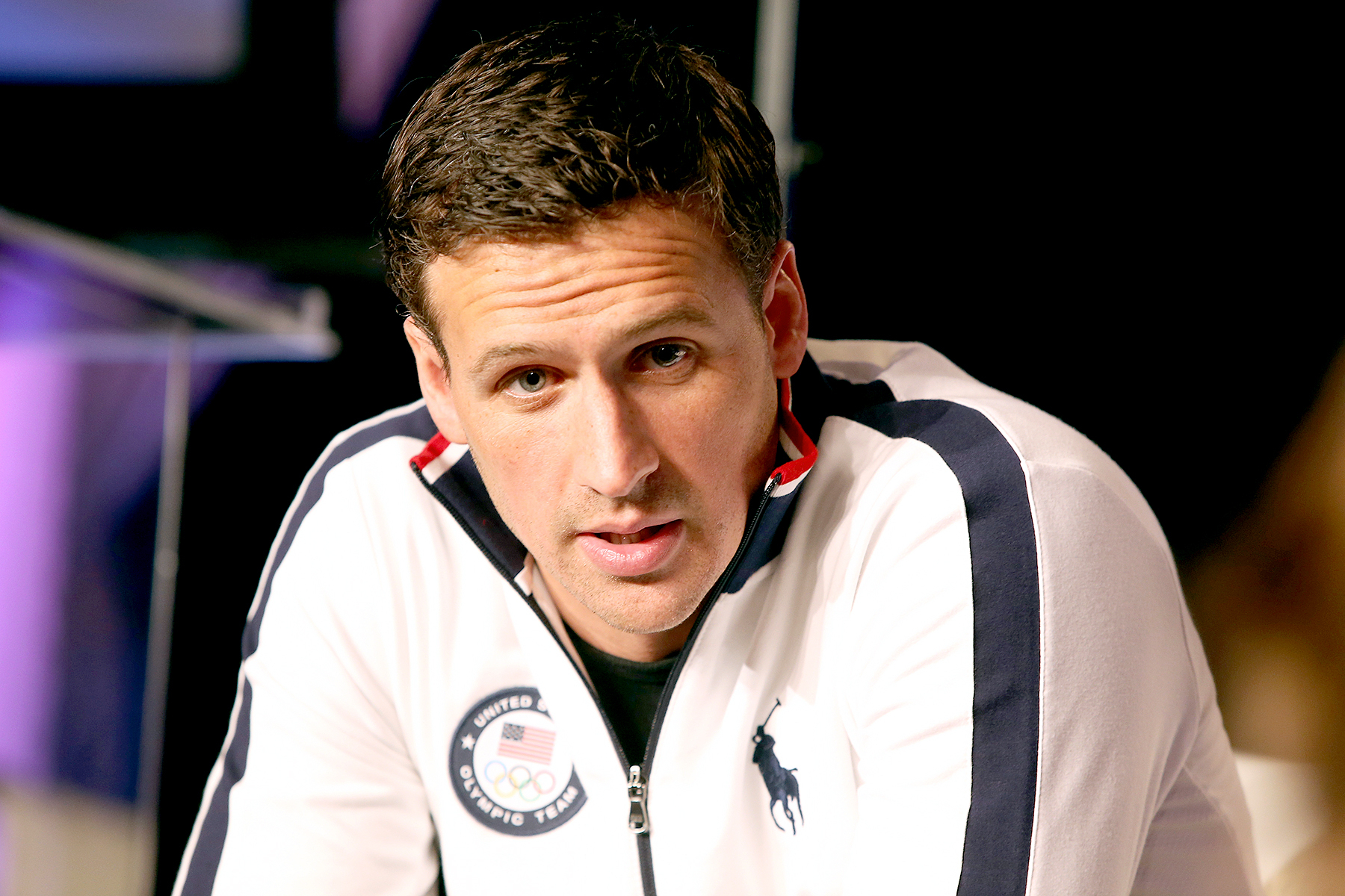 Ryan Lochte addresses the media at the USOC Olympic Meida Summit at The Beverly Hilton Hotel on March 7, 2016 in Beverly Hills, California.